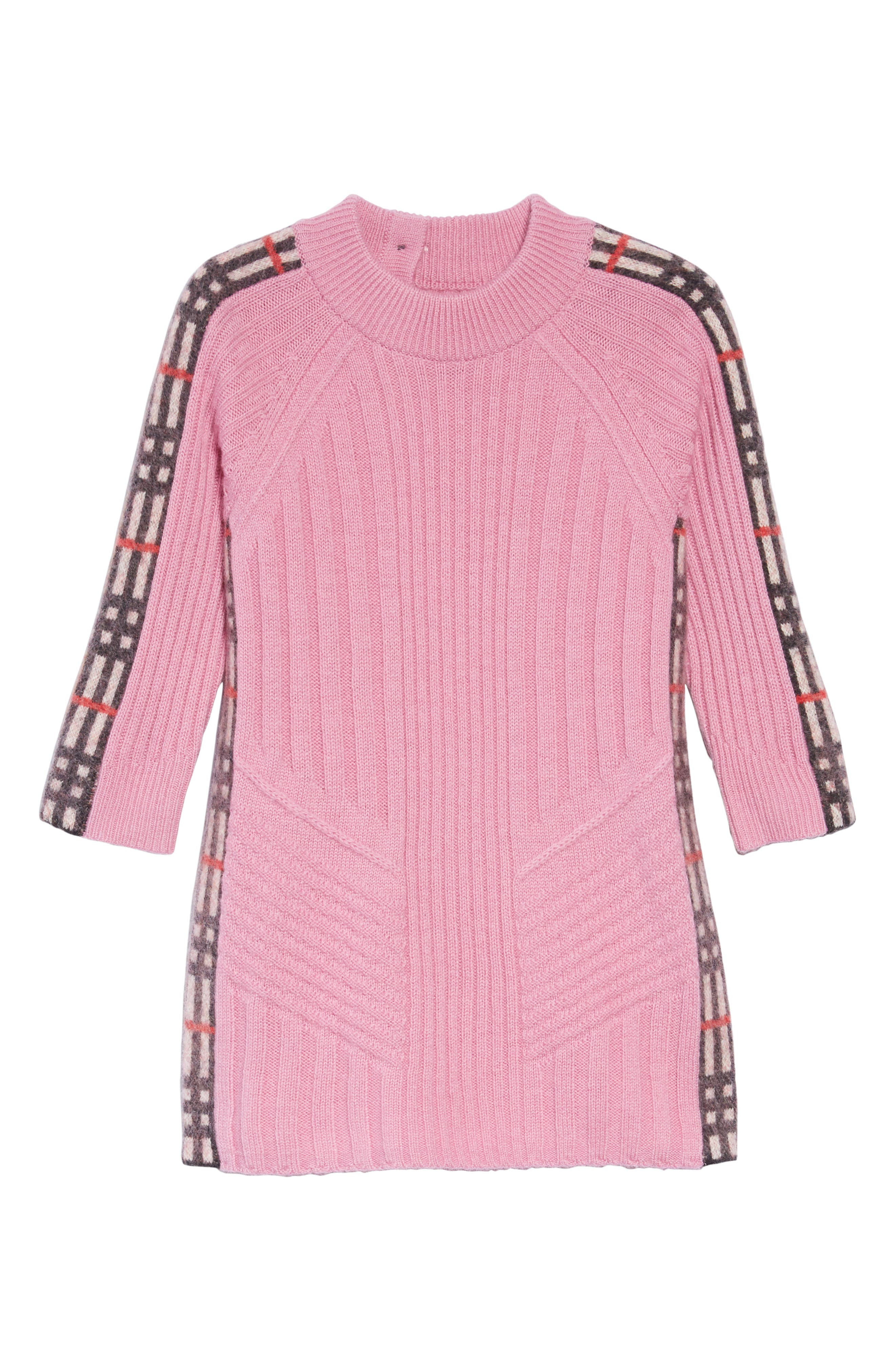 Kids Mini Cathina Check Detail Wool & Cashmere Sweater Dress,                             Main thumbnail 1, color,                             ROSE PINK
