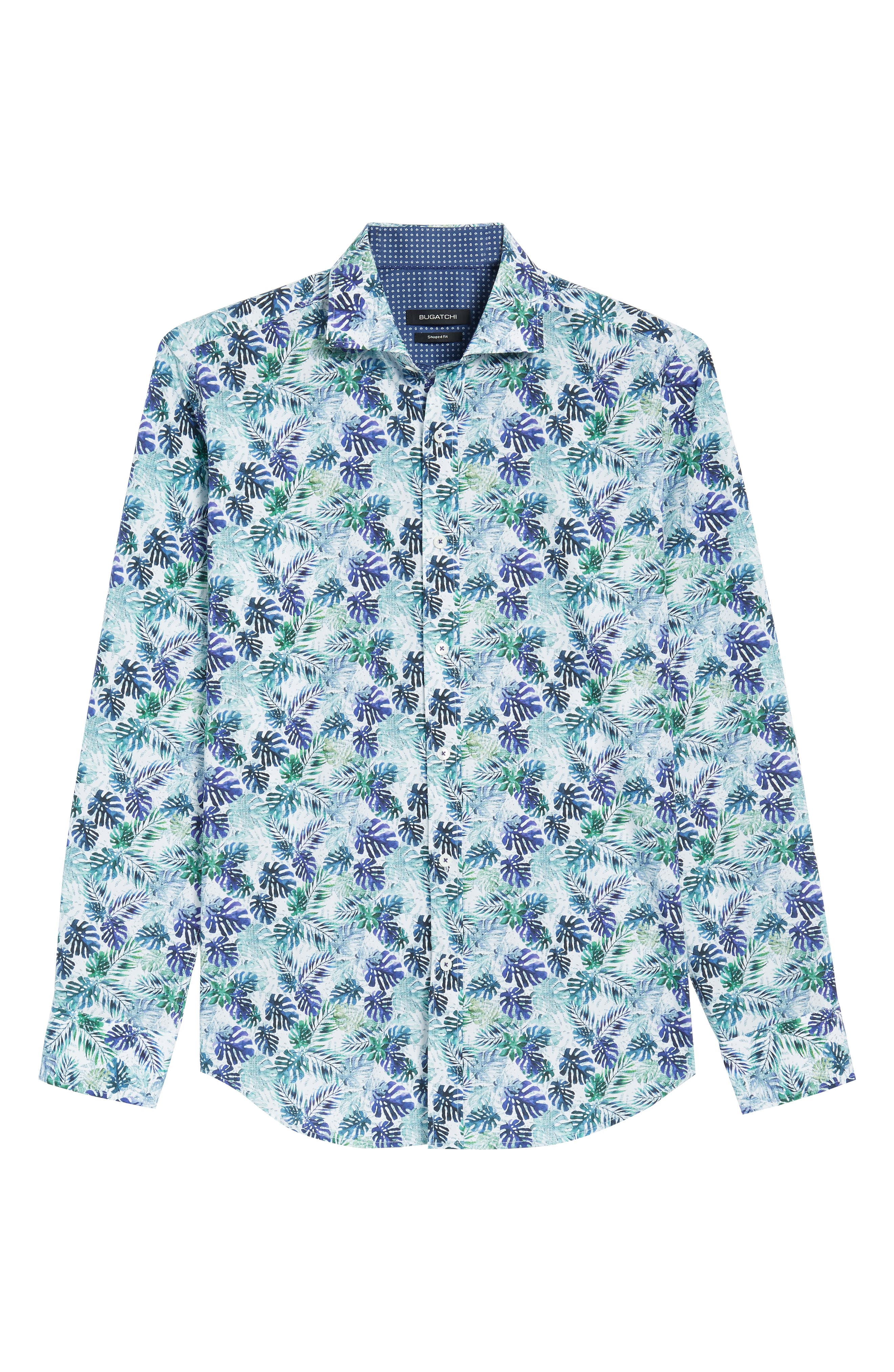 Shaped Fit Blue Leaves Sport Shirt,                             Alternate thumbnail 6, color,                             504
