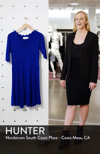 Scallop Trim Fit & Flare Dress, sales video thumbnail