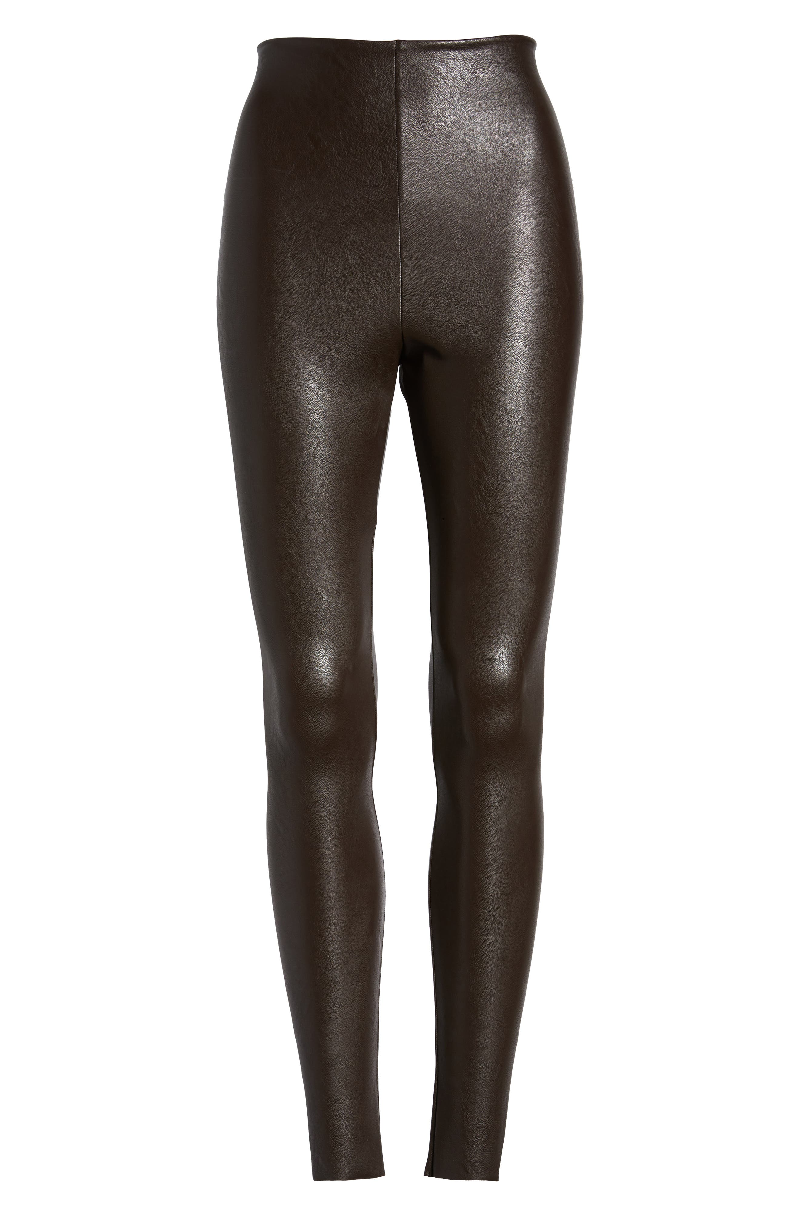 Perfect Control Faux Leather Leggings,                             Alternate thumbnail 7, color,                             201