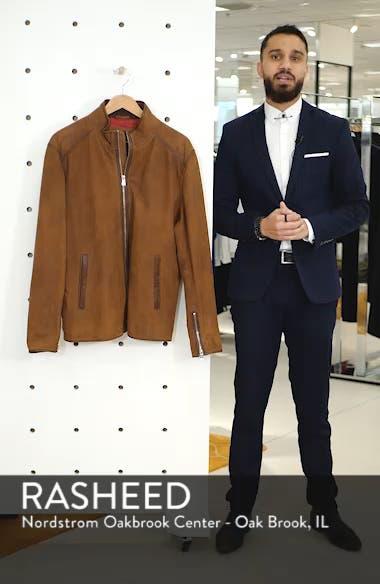 Regular Fit Leather Moto Jacket, sales video thumbnail
