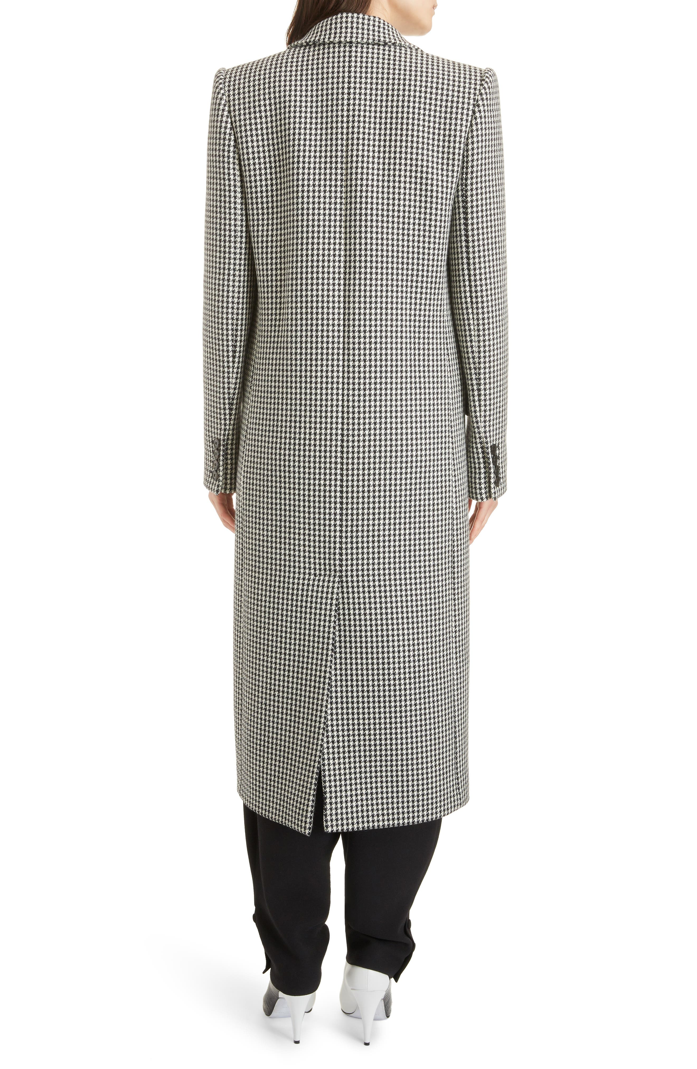 Houndstooth Wool Coat,                             Alternate thumbnail 2, color,                             BLACK NATURAL