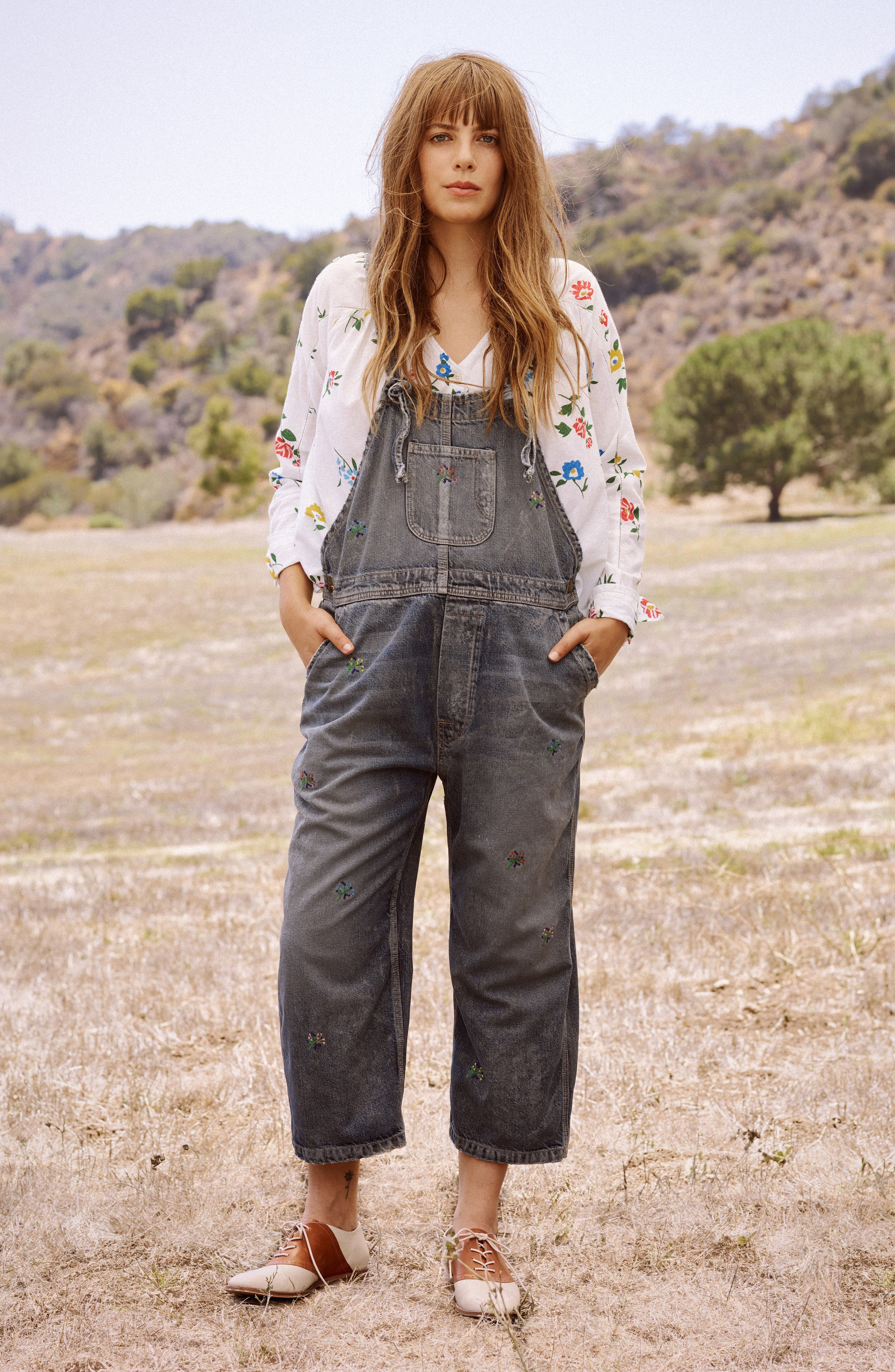 The Shop Embroidered Overalls,                             Alternate thumbnail 7, color,