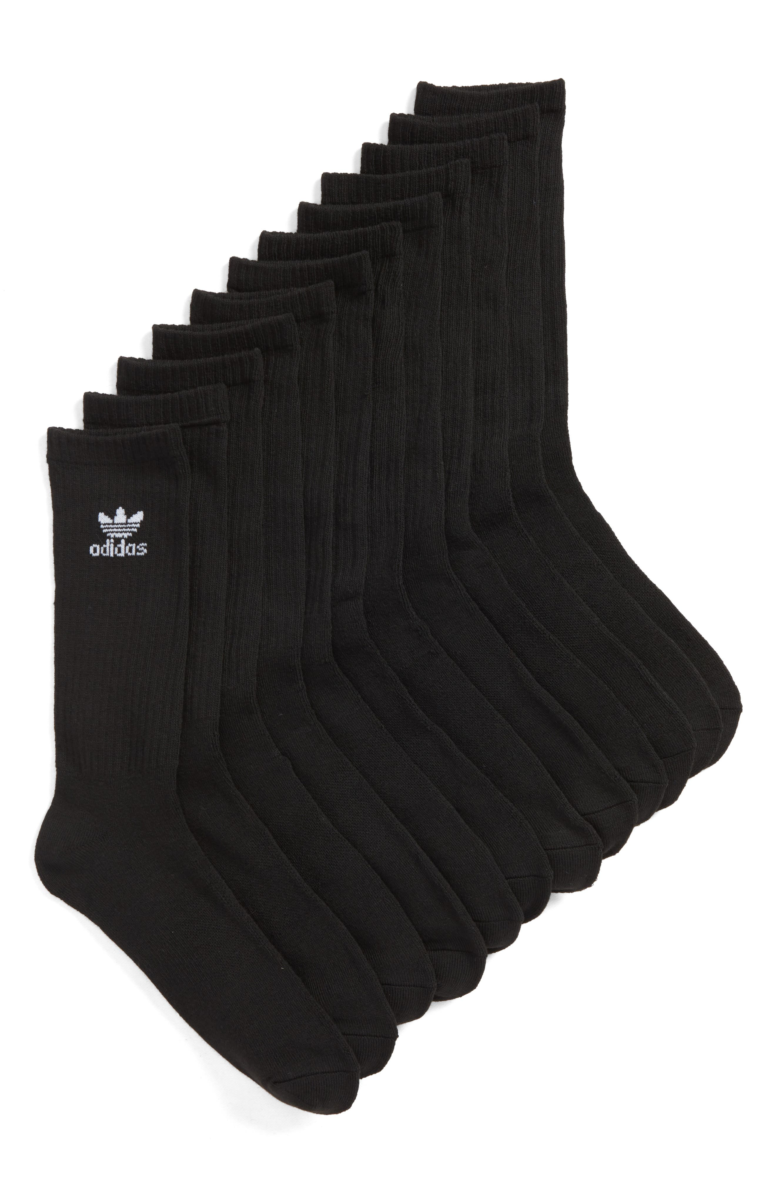 Trefoil 6-Pack Crew Socks,                         Main,                         color, 001