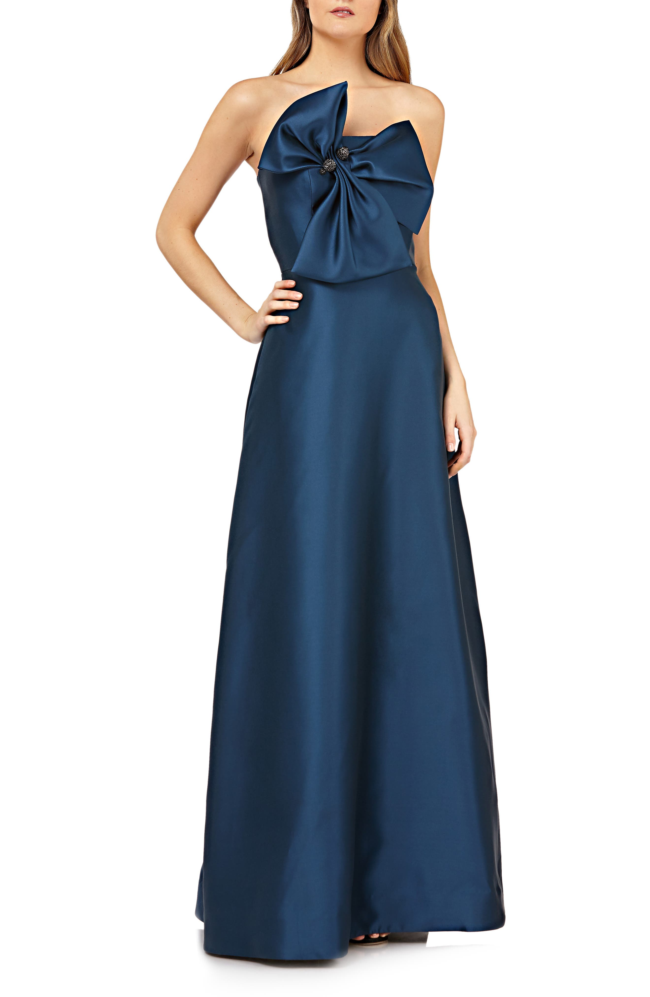 Kay Unger Bow Front Straplles Mikado Evening Dress, Blue
