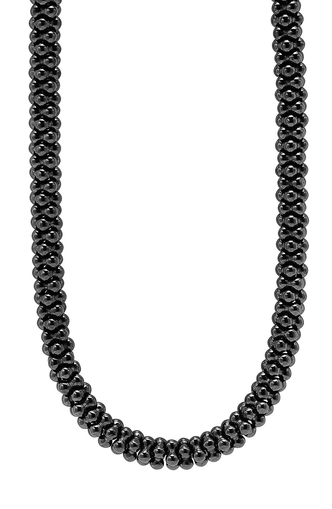'Black Caviar' 7mm Beaded Necklace,                             Alternate thumbnail 3, color,                             BLACK CAVIAR