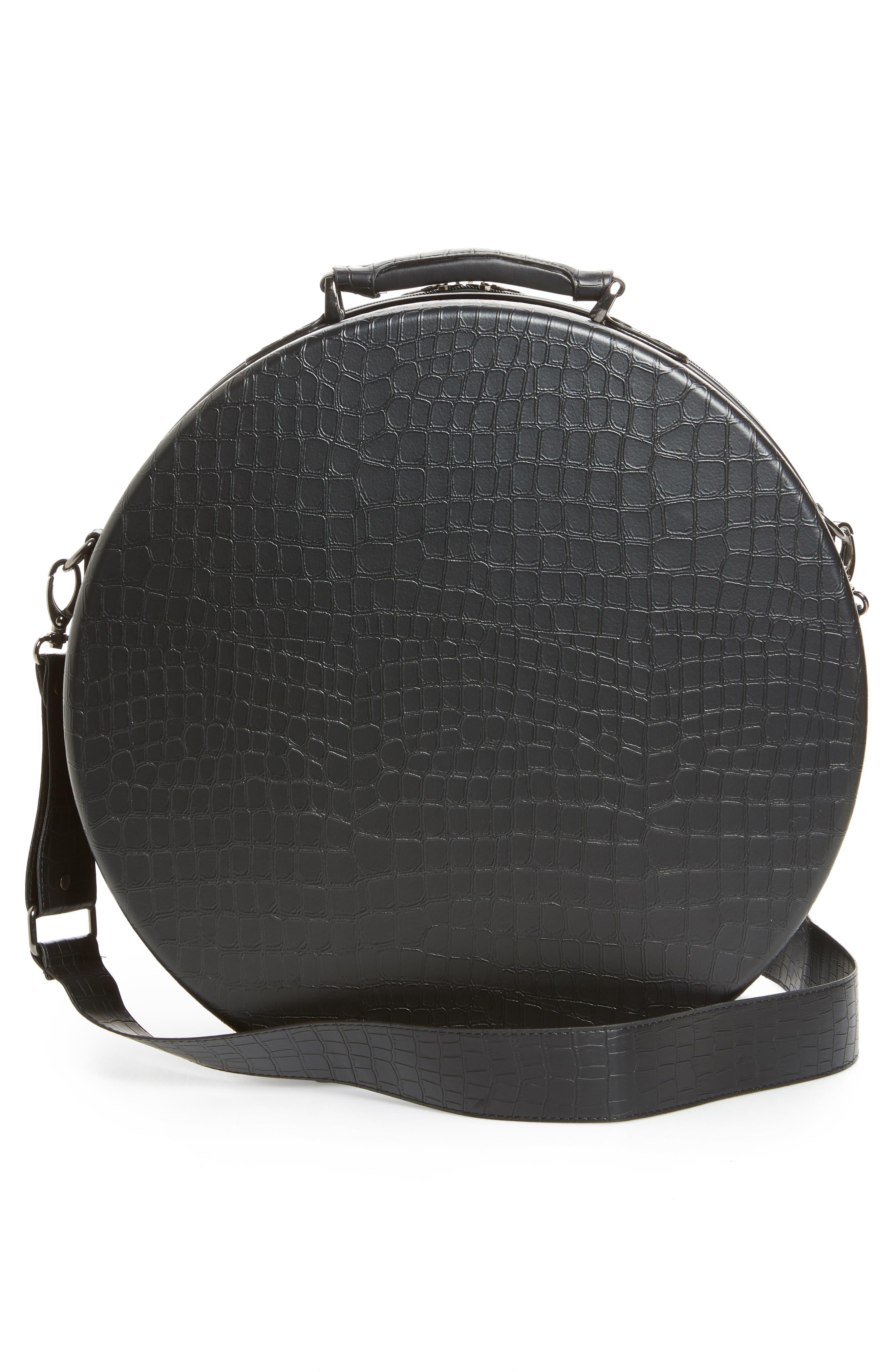 Baye Medium Hardcase Hat Box,                             Alternate thumbnail 4, color,                             BLACK