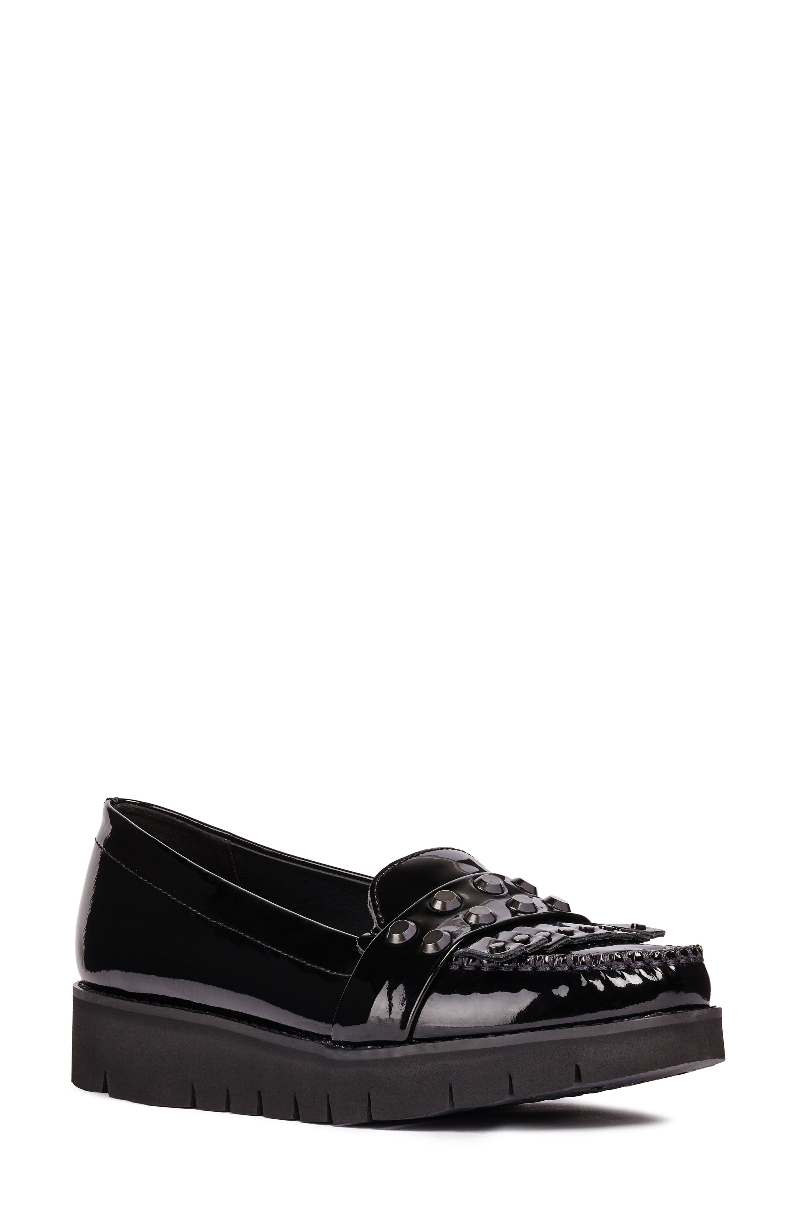 Blenda Studded Kiltie Loafer,                             Main thumbnail 1, color,                             BLACK LEATHER