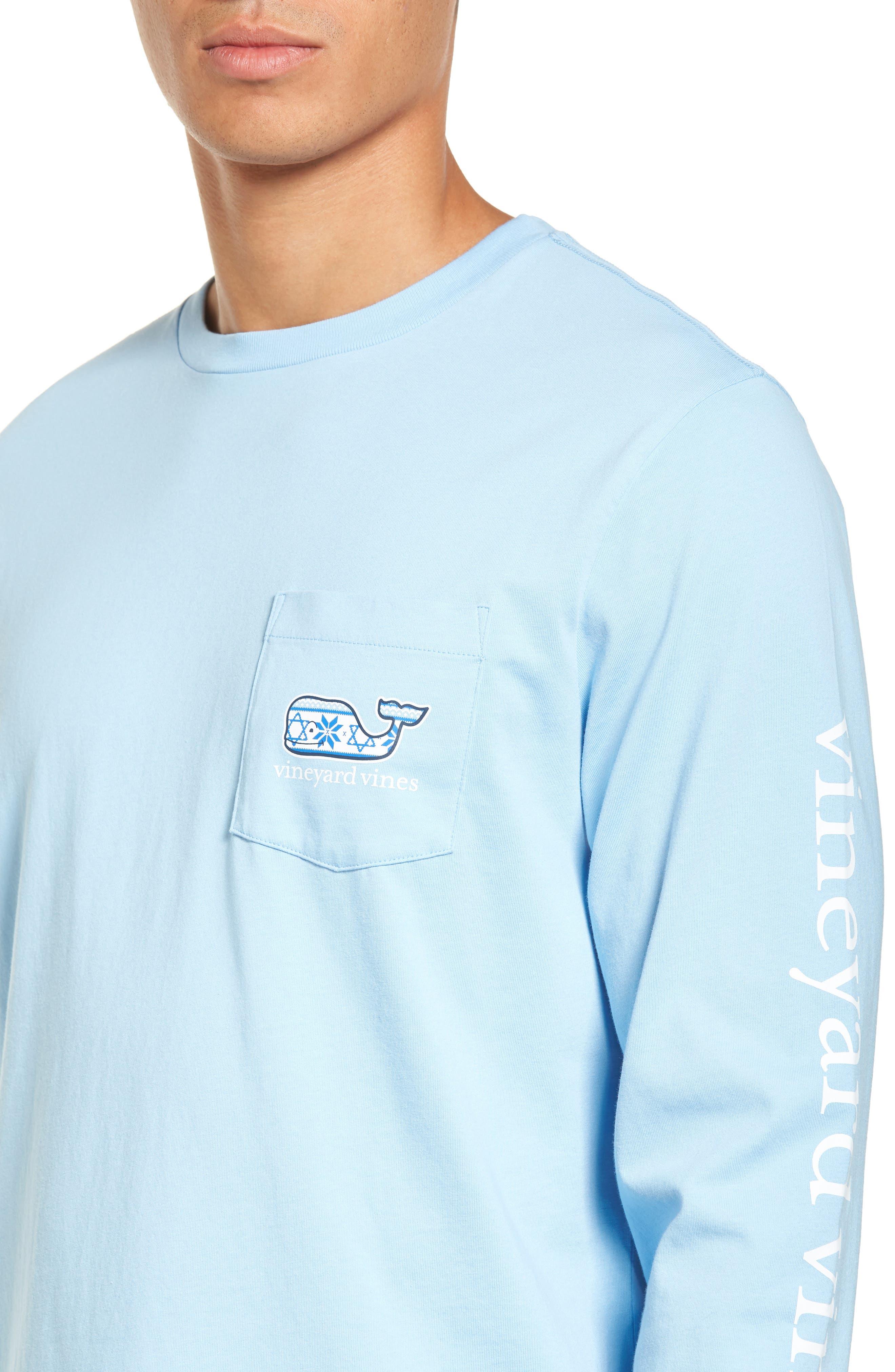 Hanukkah Fair Isle Whale Fill Pocket T-Shirt,                             Alternate thumbnail 4, color,                             456