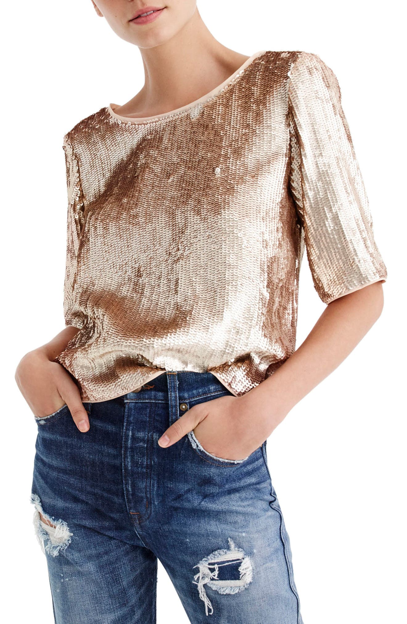 Rose Gold Sequin Crop Top,                             Main thumbnail 1, color,