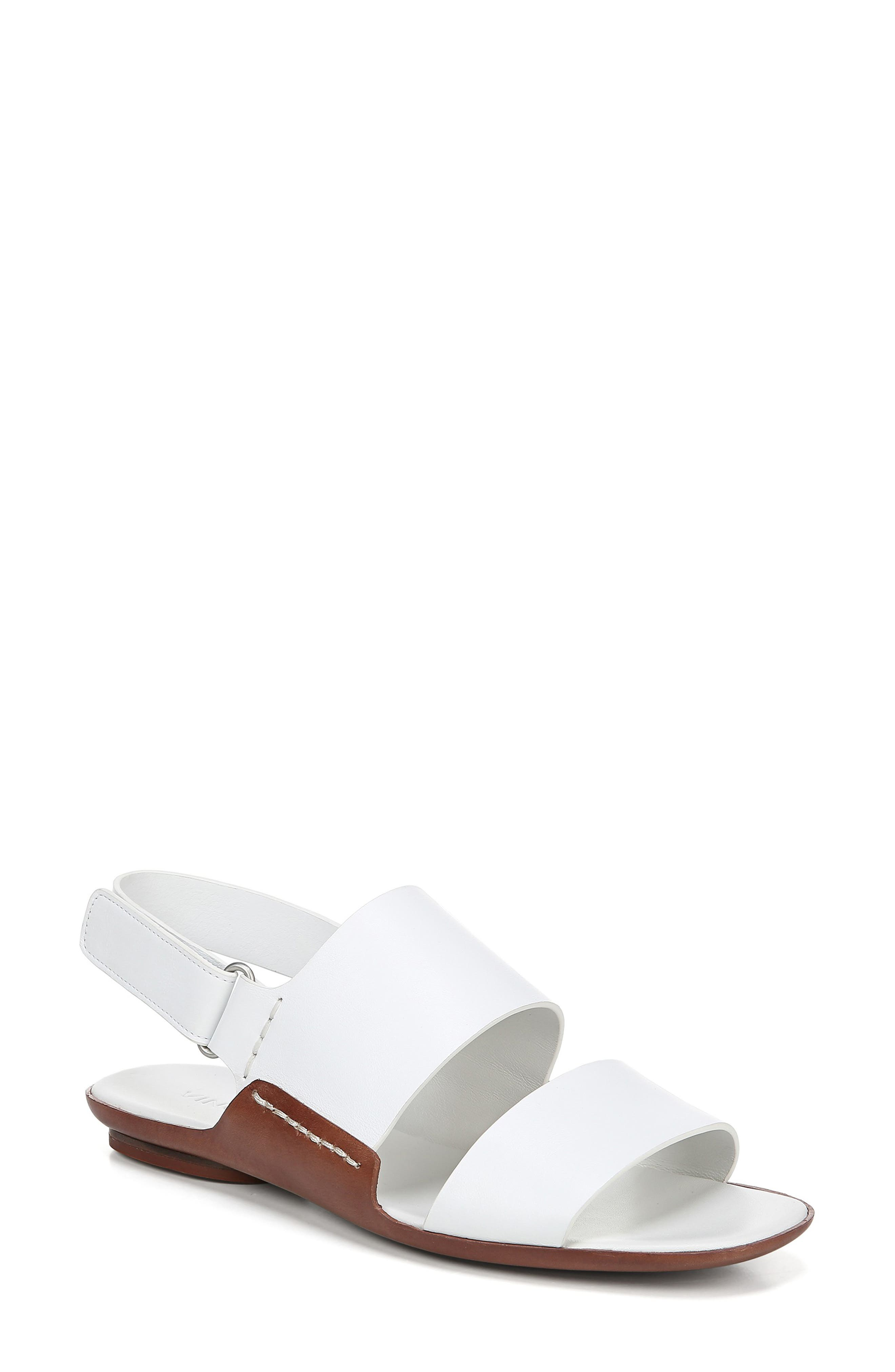 Telsa Flat Leather Slingback Sandals in White