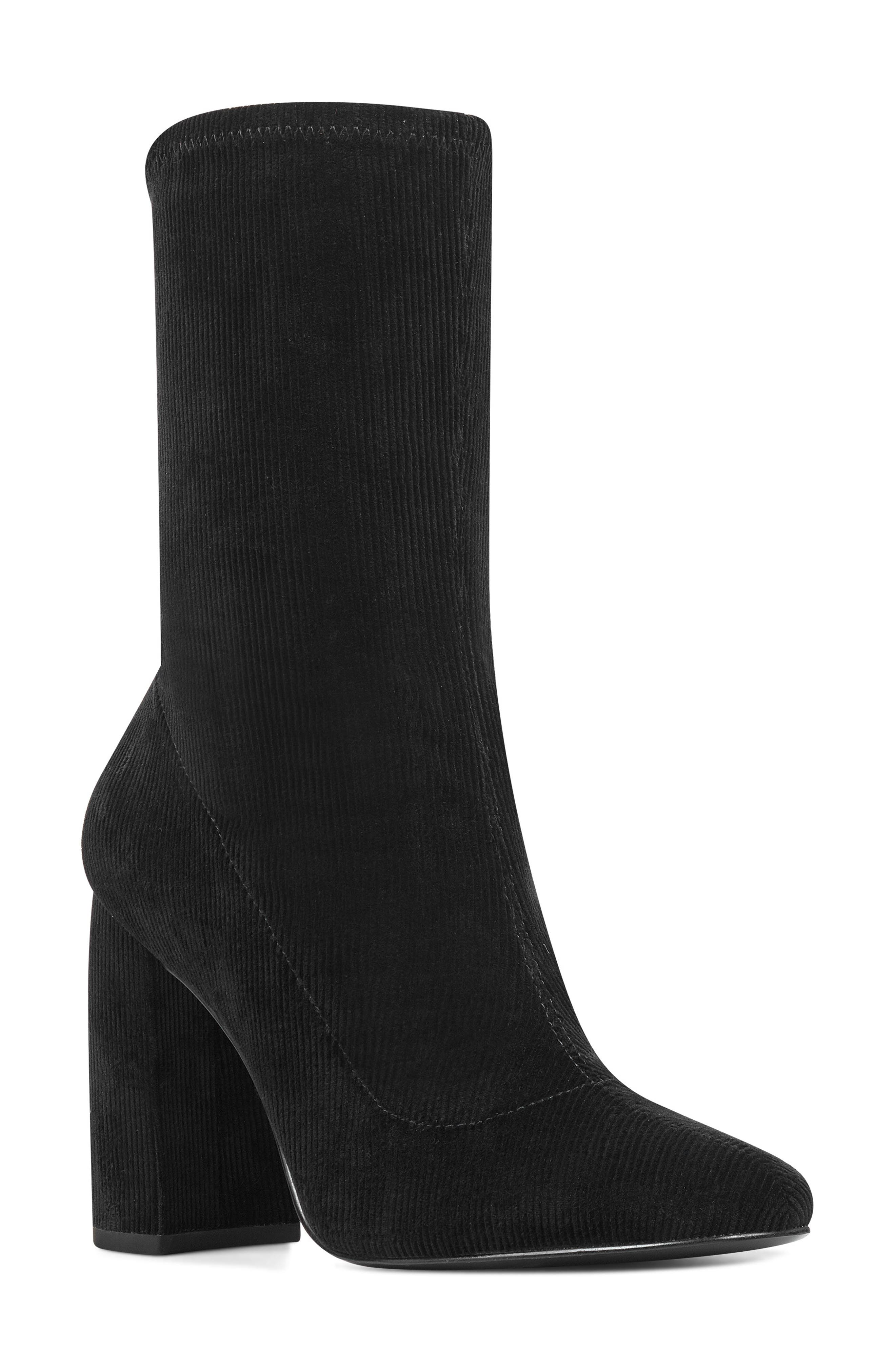 Nine West Cal Stretch Corduroy Bootie, Black