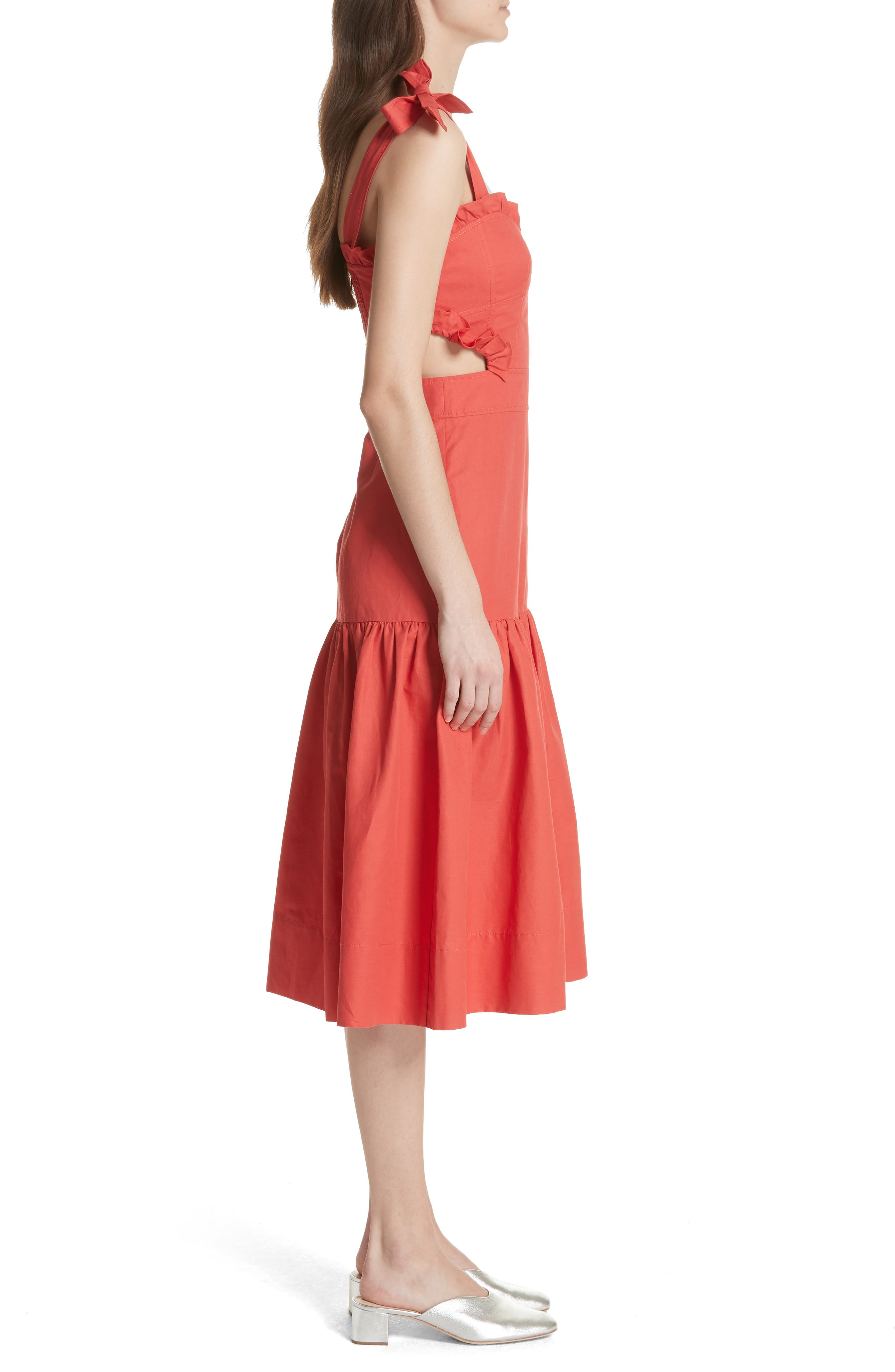 Sleeveless Ruffle Hem Dress,                             Alternate thumbnail 3, color,                             601