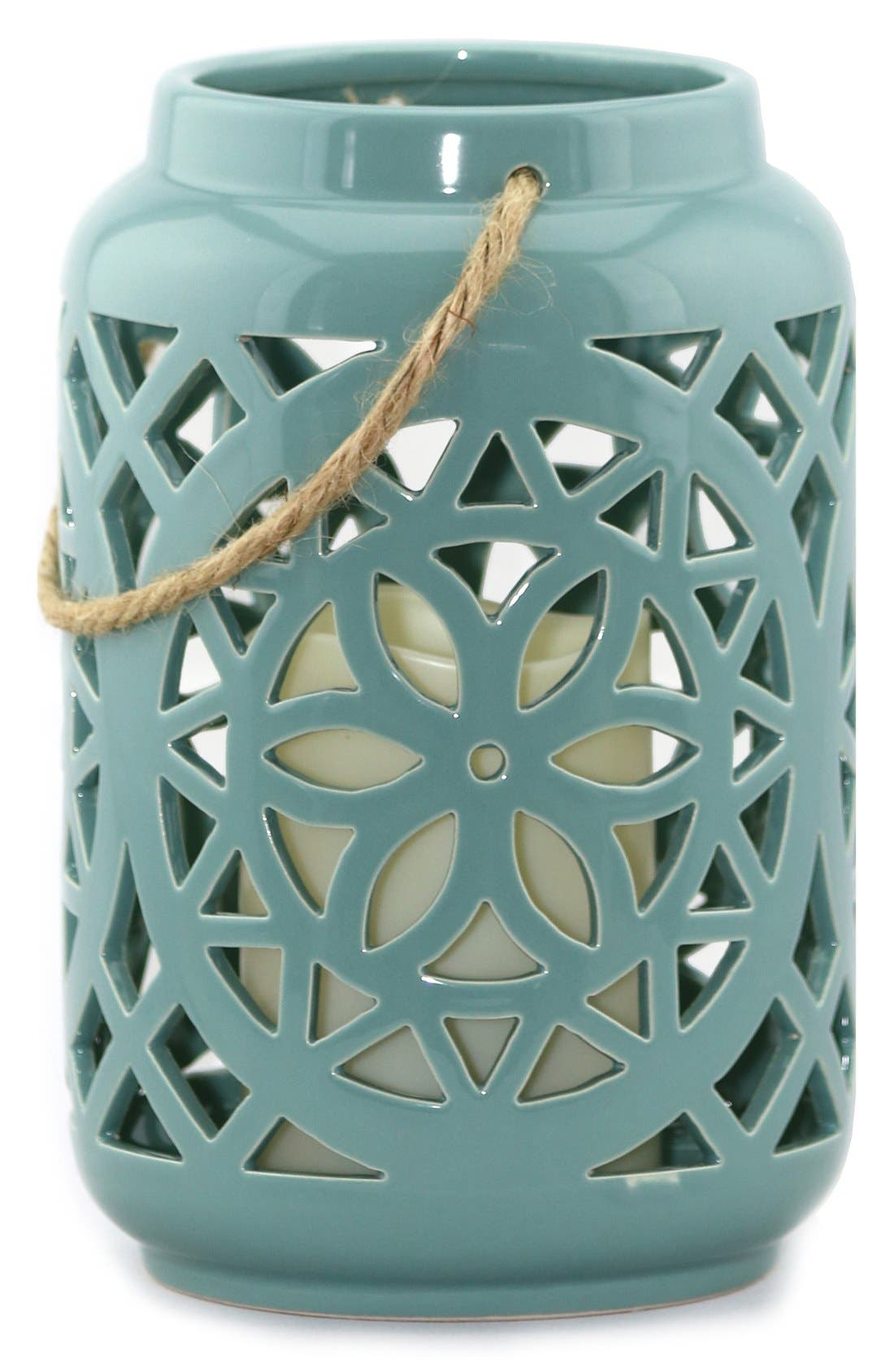 Ceramic Lantern & All-Weather Flameless Candle,                         Main,                         color,