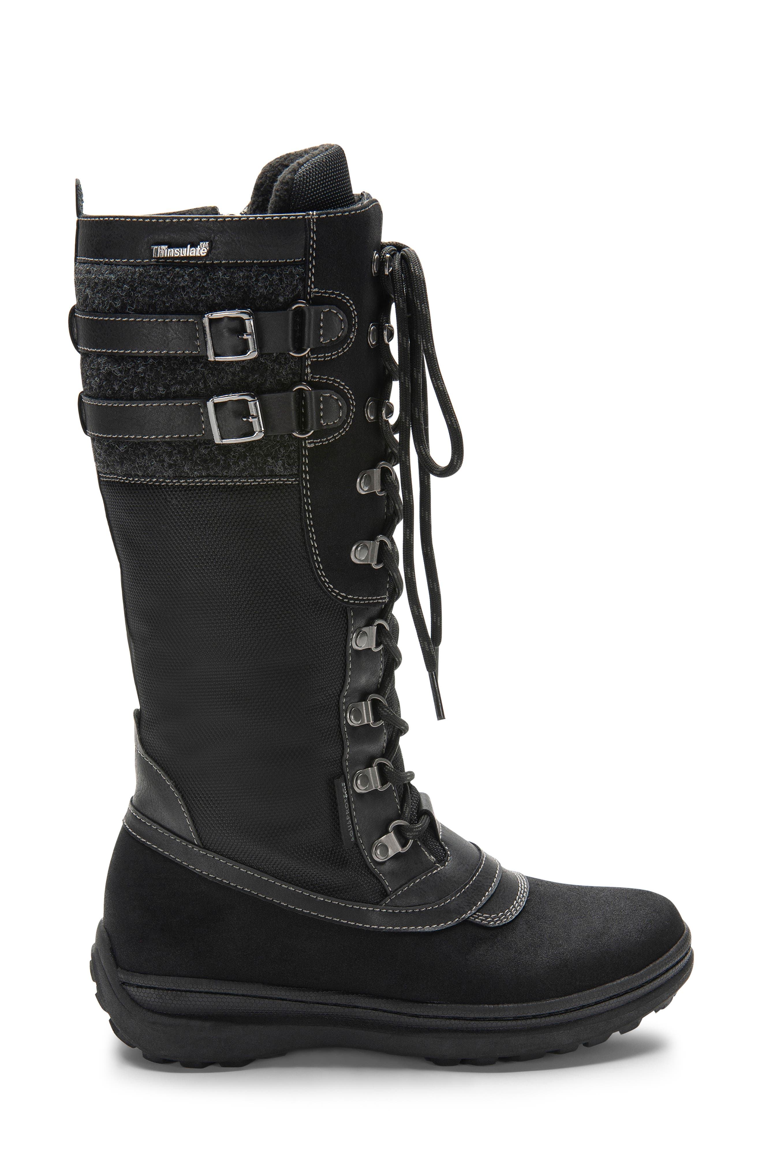 India Waterproof Snow Boot,                             Alternate thumbnail 3, color,                             BLACK LEATHER