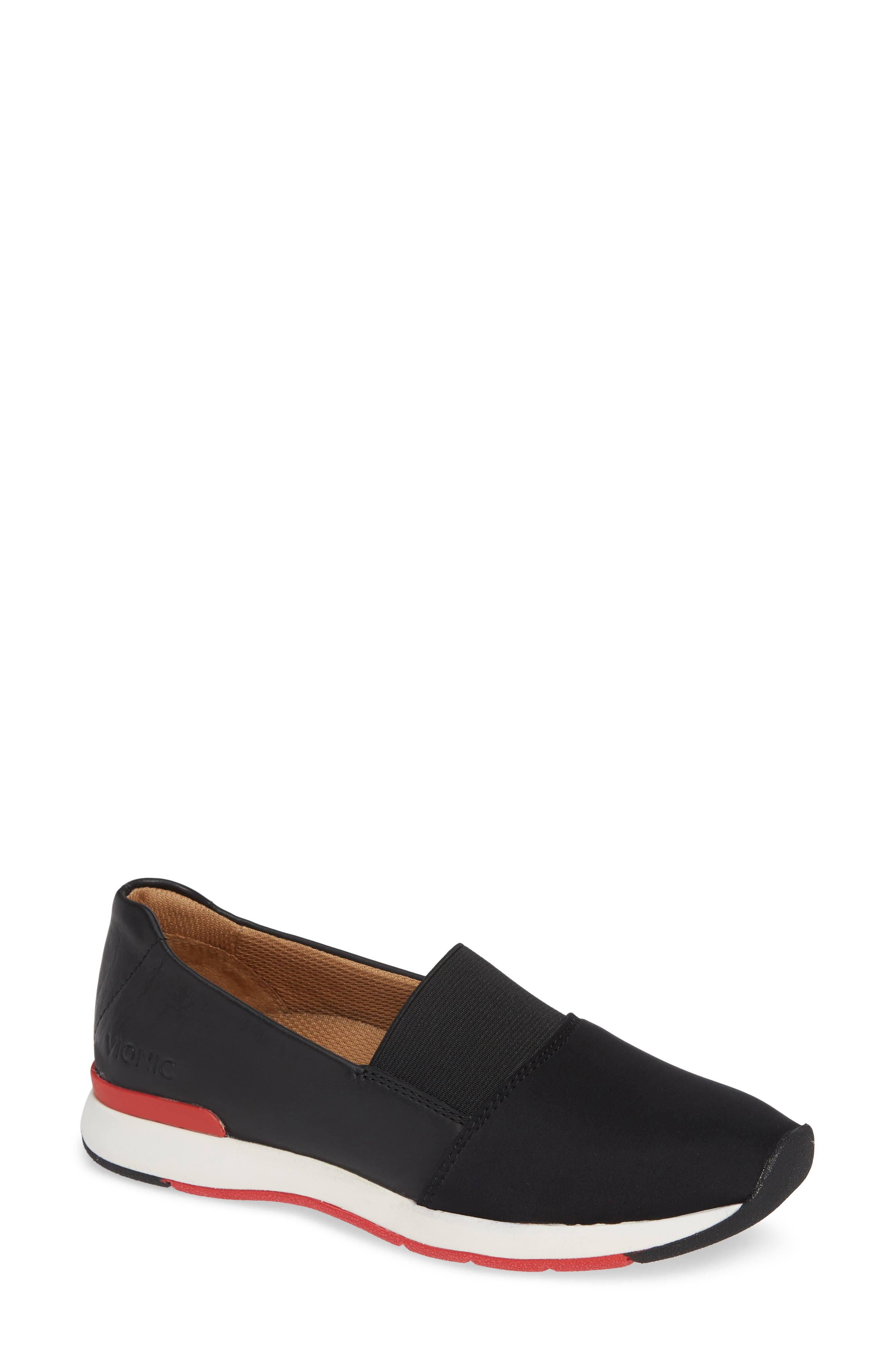 Cameo Slip-On Shoe,                             Main thumbnail 1, color,                             BLACK LEATHER NEOPRENE