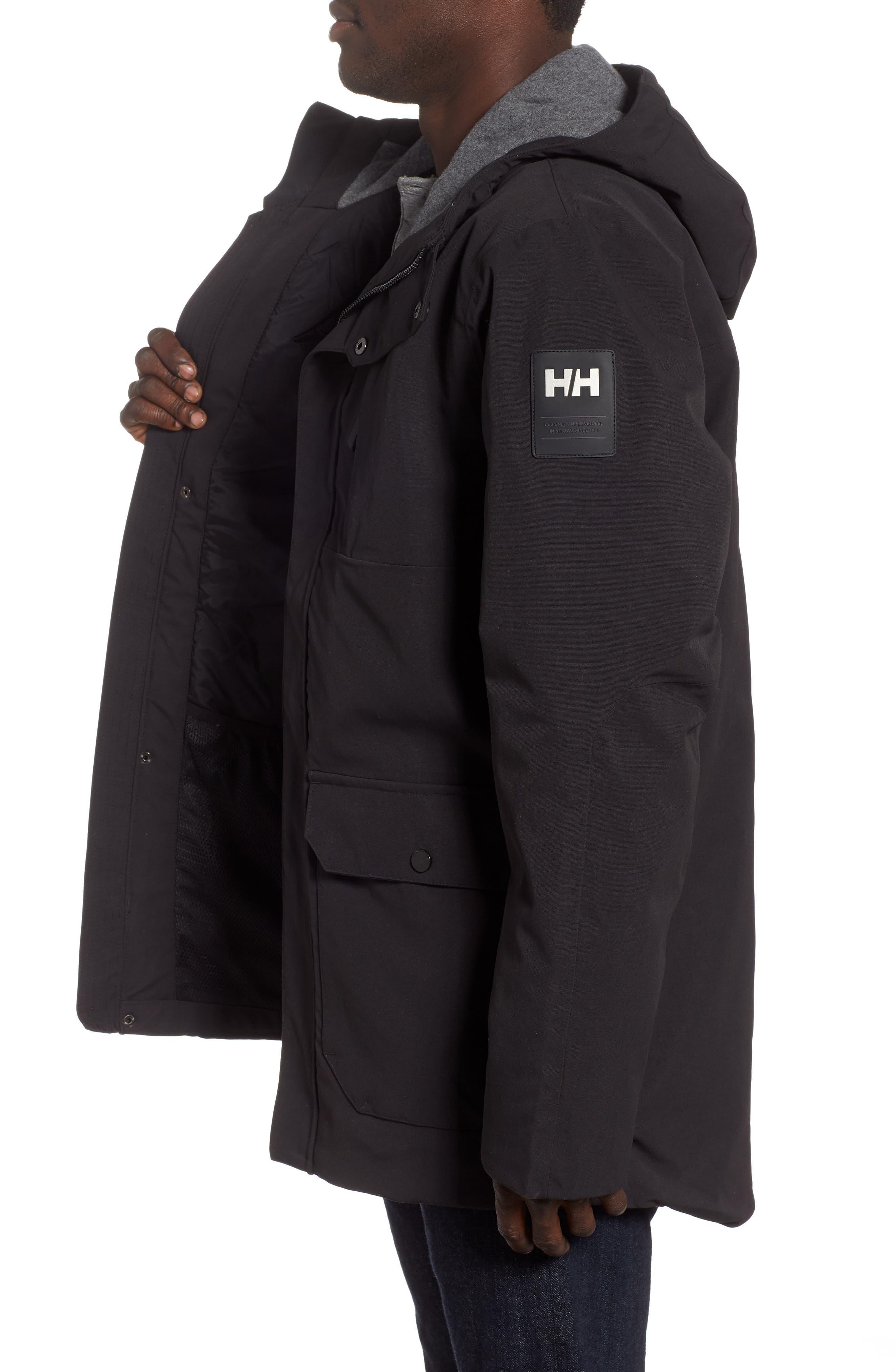 Urban Windproof & Waterproof Primaloft<sup>®</sup> Long Jacket,                             Alternate thumbnail 3, color,                             BLACK