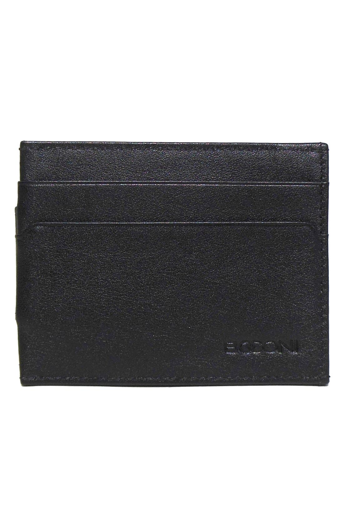 'Grant' Money Clip Card Case,                             Main thumbnail 1, color,                             BLACK/ GREY