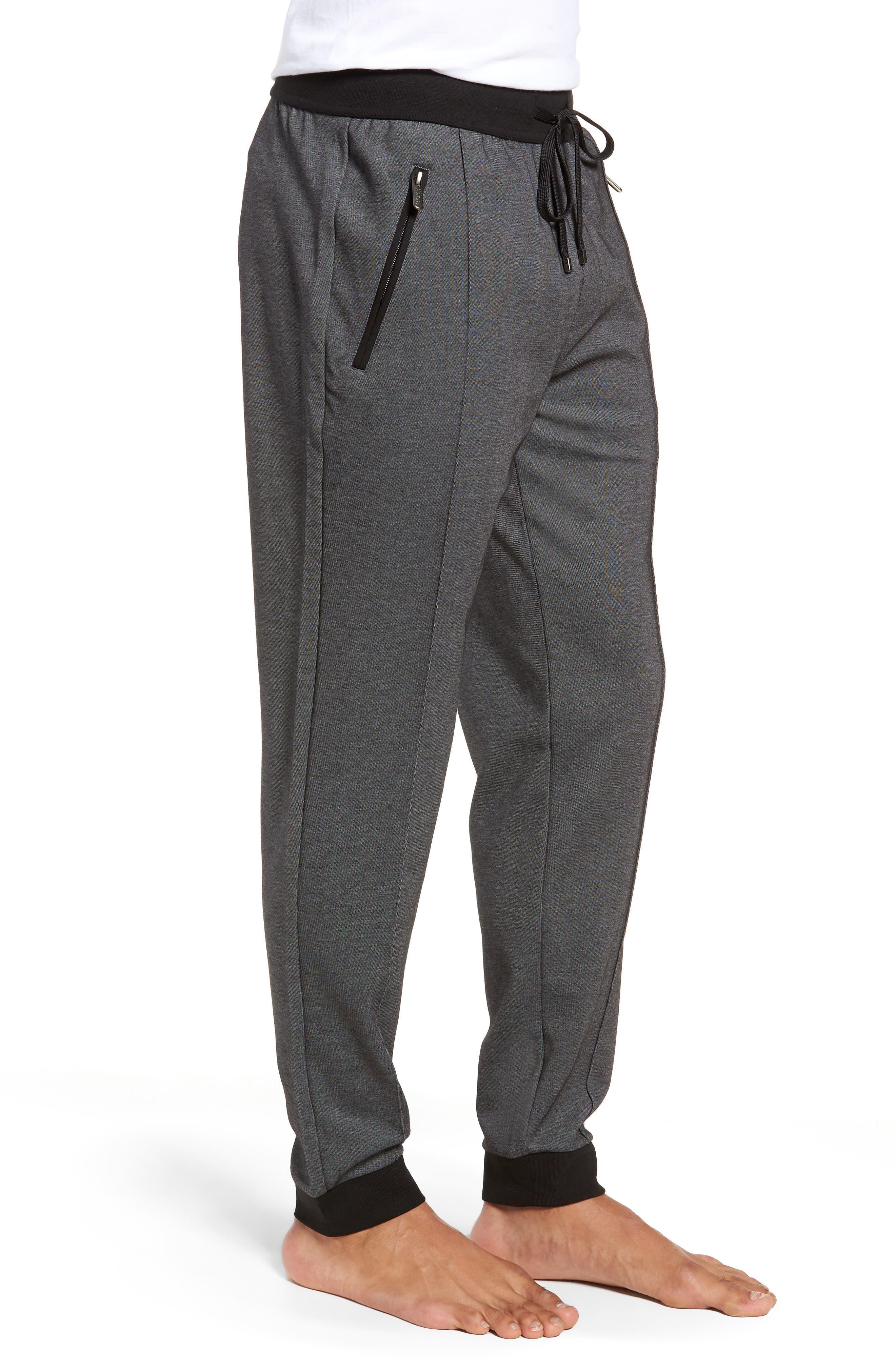 Cotton Blend Track Pants,                             Alternate thumbnail 3, color,                             BLACK