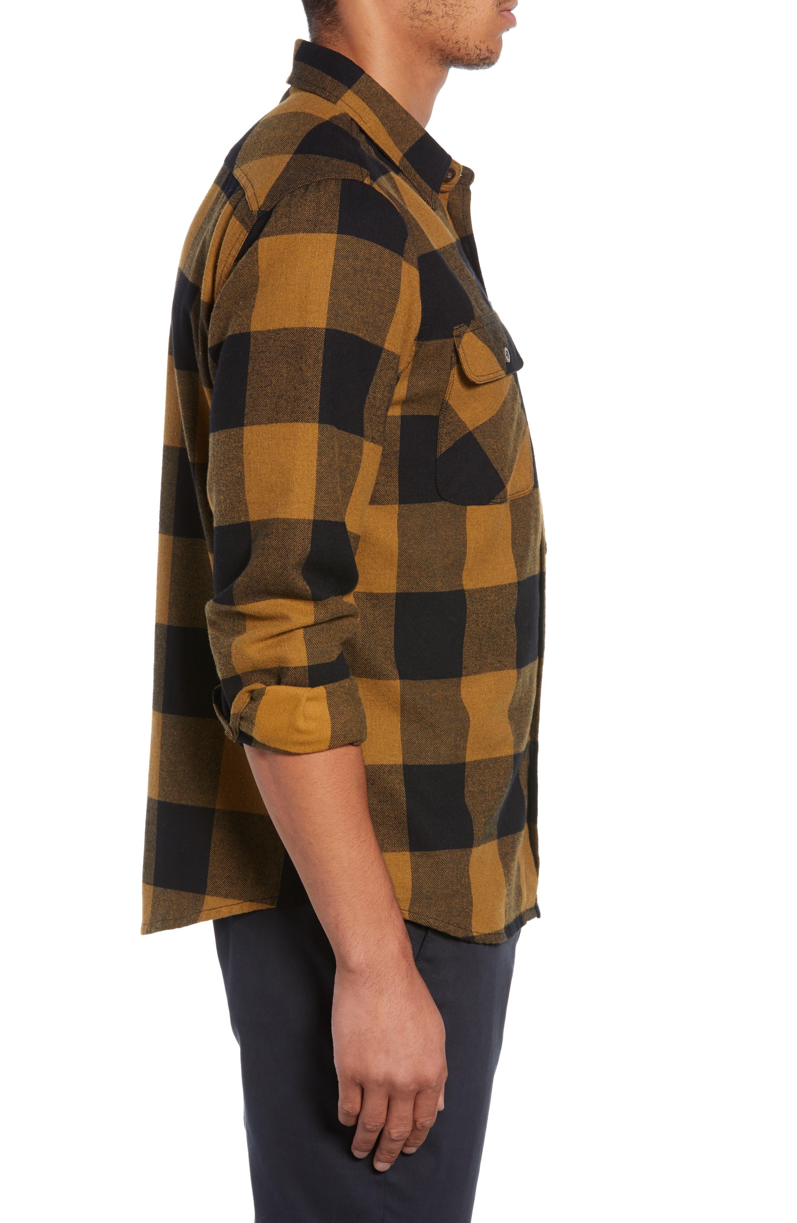 Bowery Buffalo Plaid Flannel Shirt,                             Alternate thumbnail 4, color,                             BLACK/ BRONZE