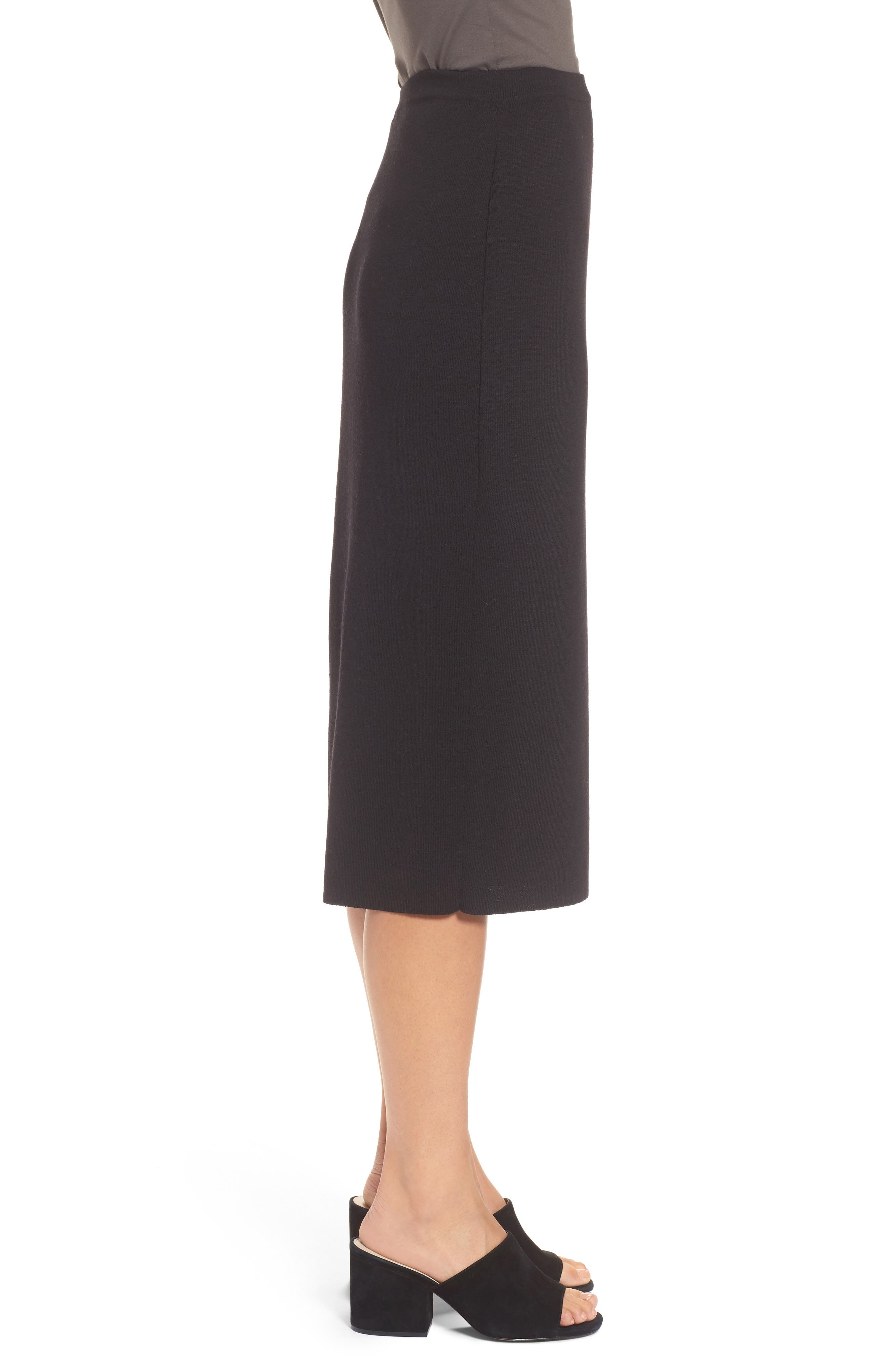 Wool Knit Pencil Skirt,                             Alternate thumbnail 3, color,                             001
