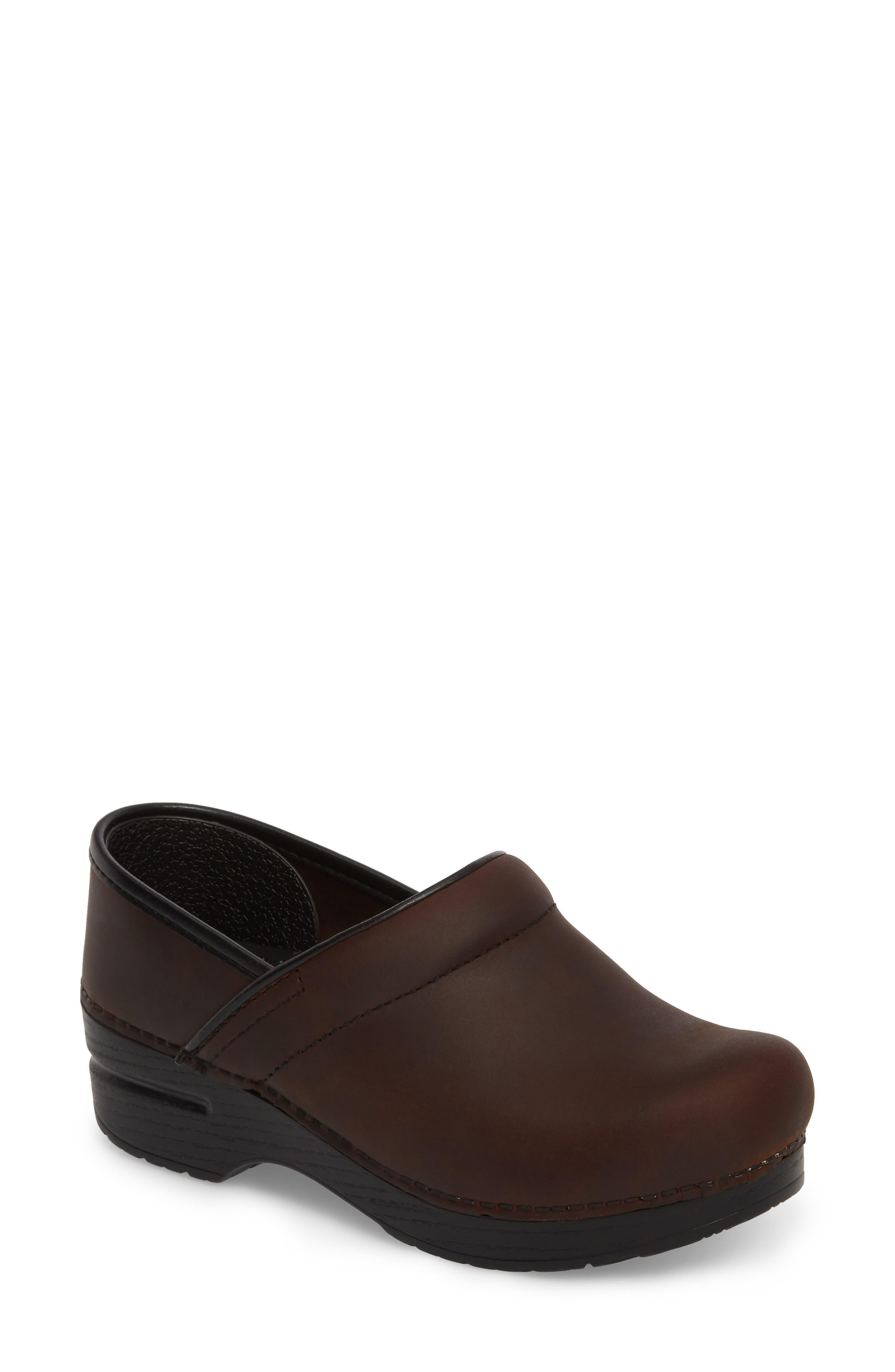 DANSKO Wide Pro Clog, Main, color, ANTIQUE BROWN/ BLACK LEATHER