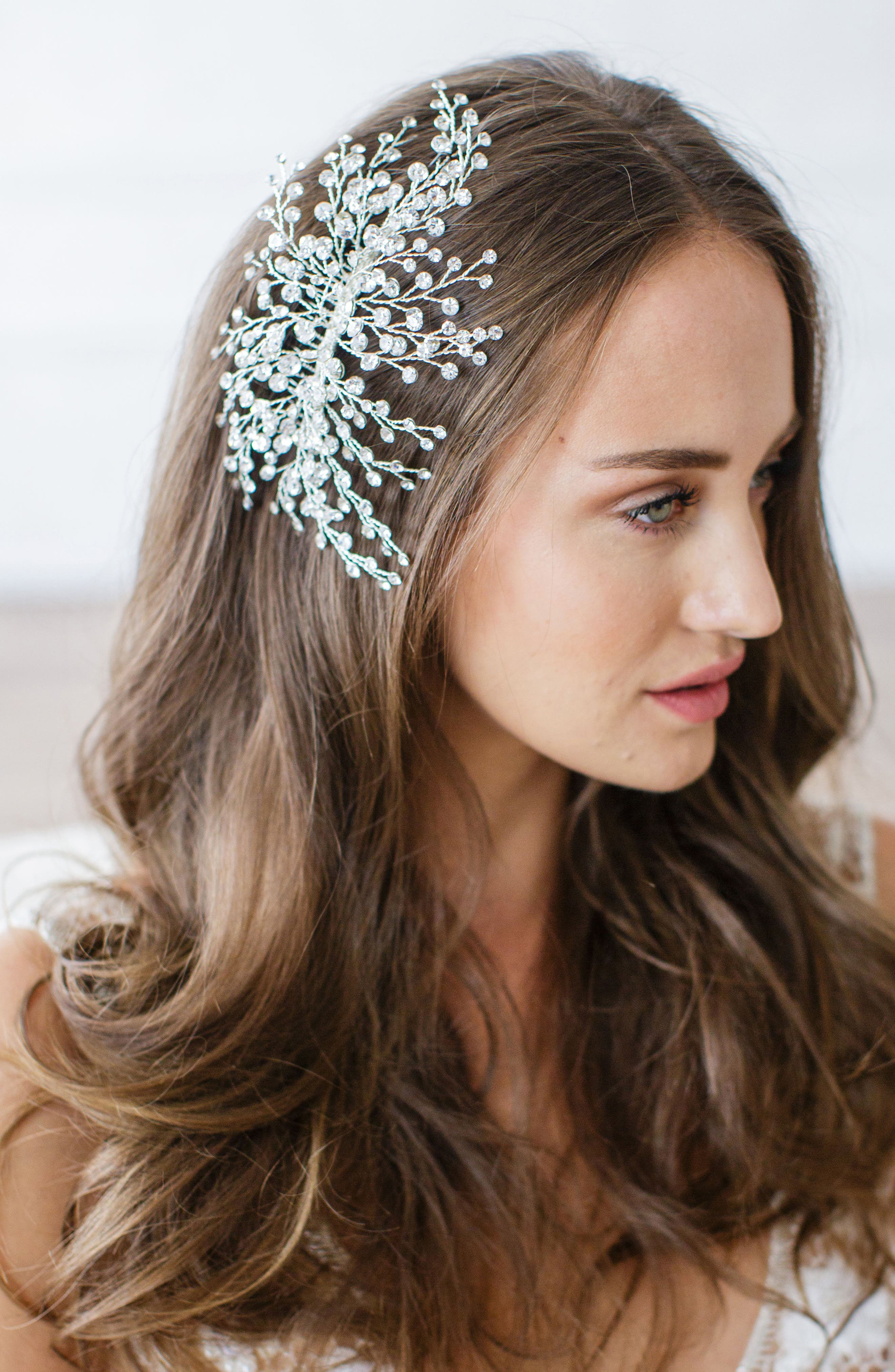 'Veda' Crystal Embellished Hair Comb,                             Main thumbnail 1, color,                             CLASSIC SILVER