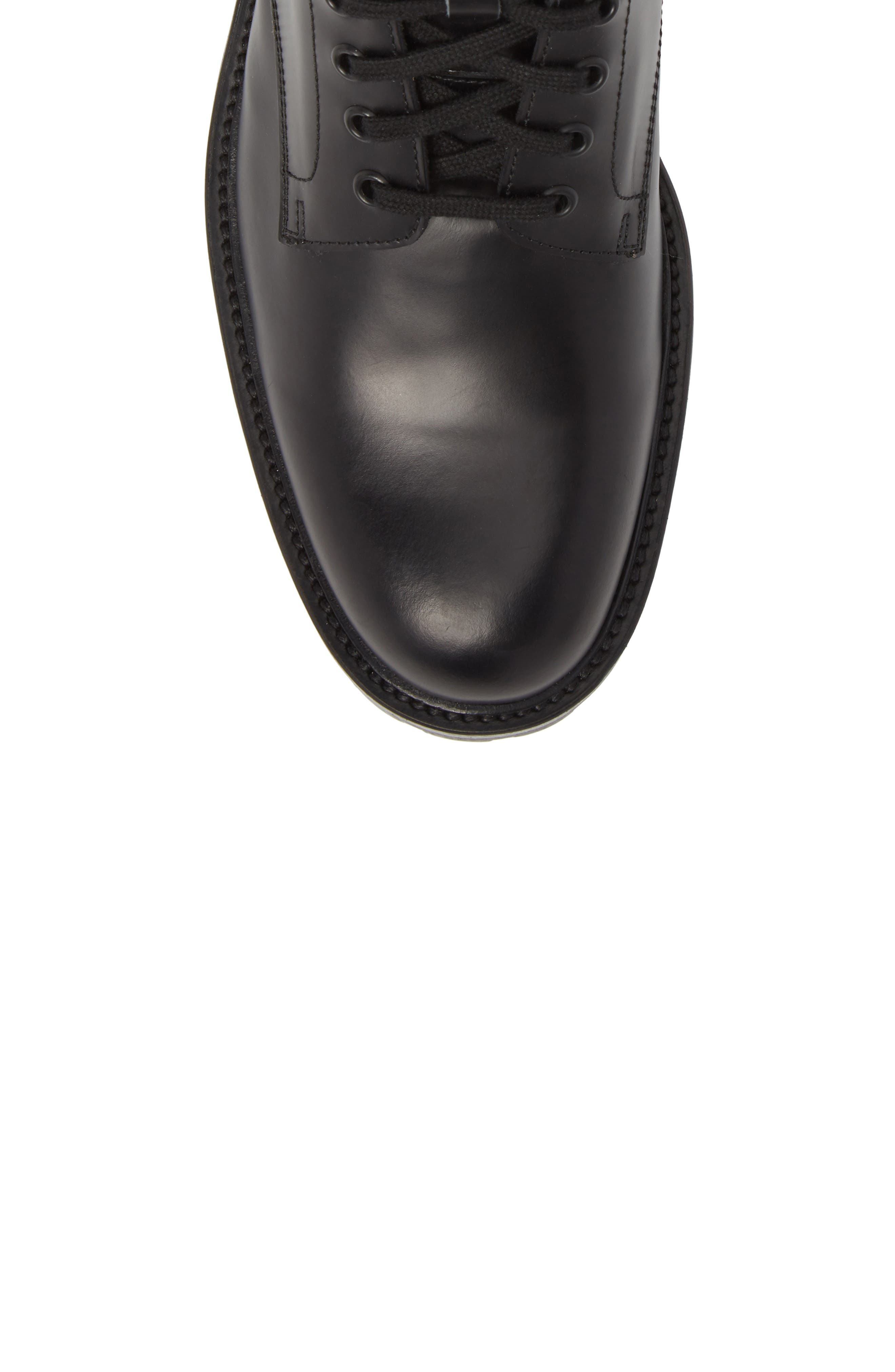 Zipper Combat Boot,                             Alternate thumbnail 5, color,                             BLACK LEATHER