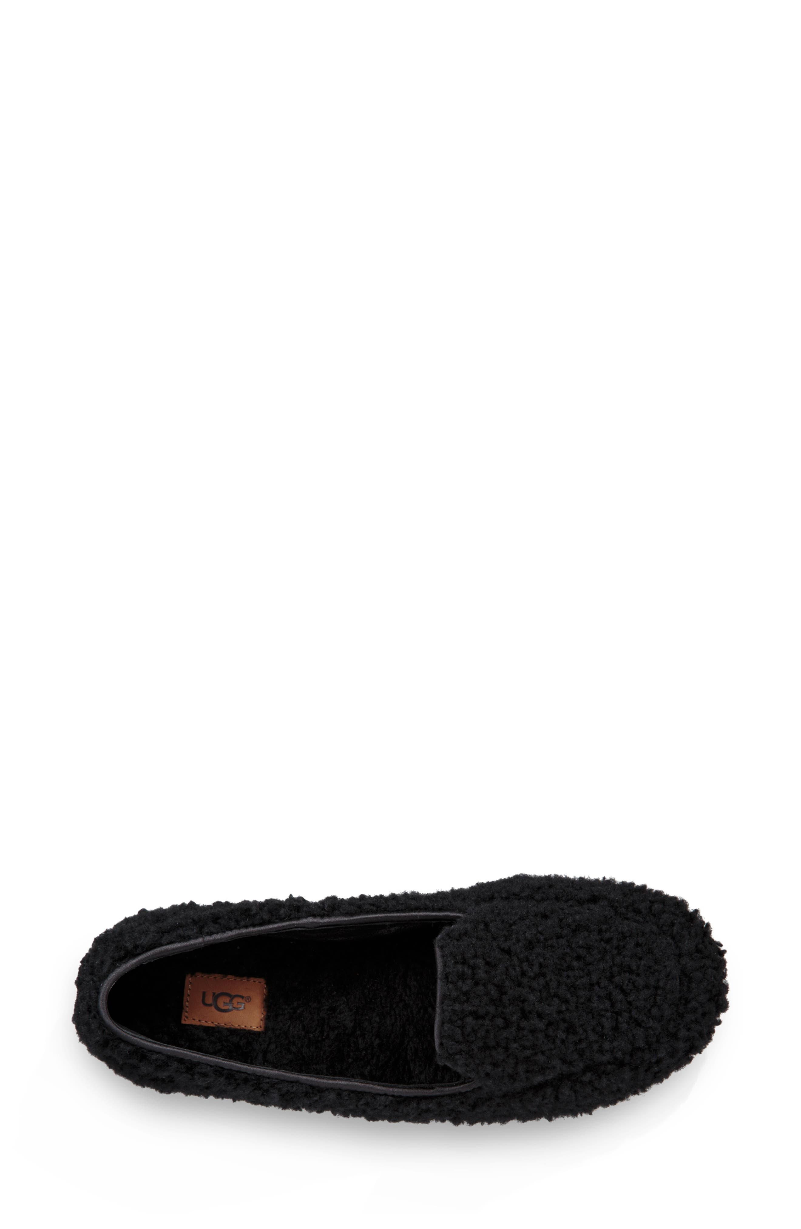 Hailey Fluff Genuine Shearling Slipper,                             Alternate thumbnail 4, color,                             BLACK