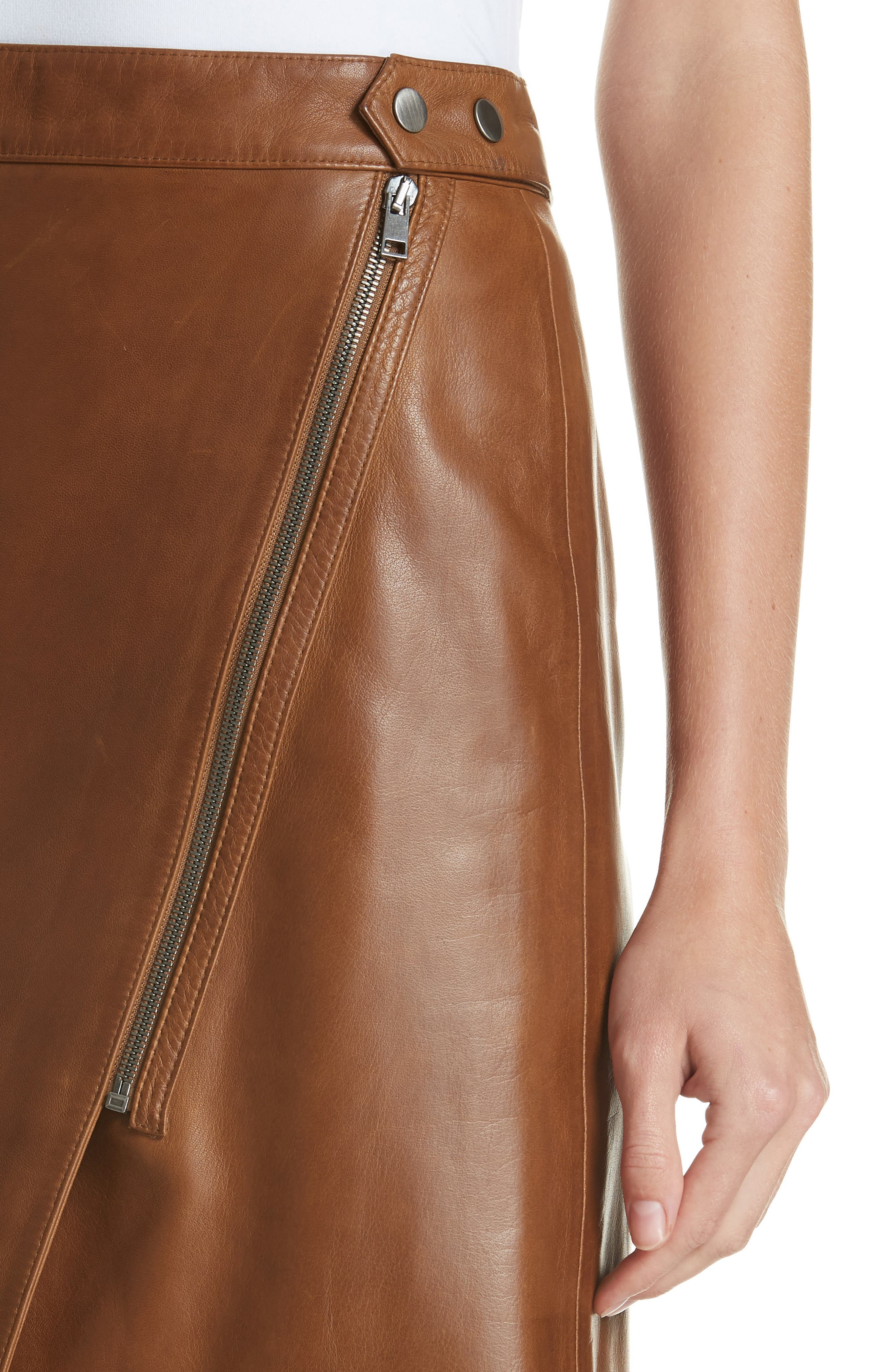 Faux Wrap Leather Skirt,                             Alternate thumbnail 4, color,                             RUST BISQUE