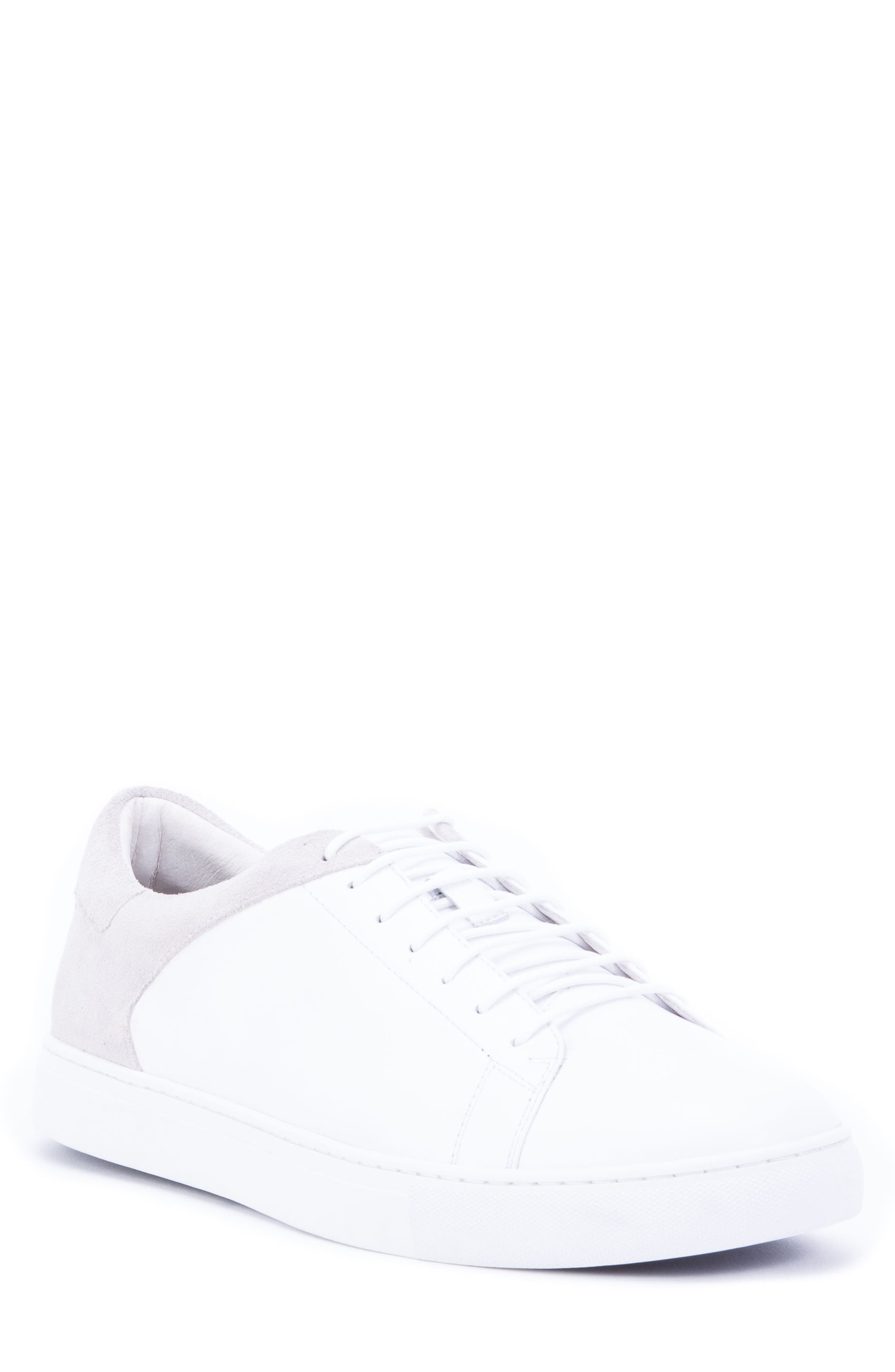 Cue Low Top Sneaker,                             Main thumbnail 1, color,                             WHITE LEATHER/ SUEDE