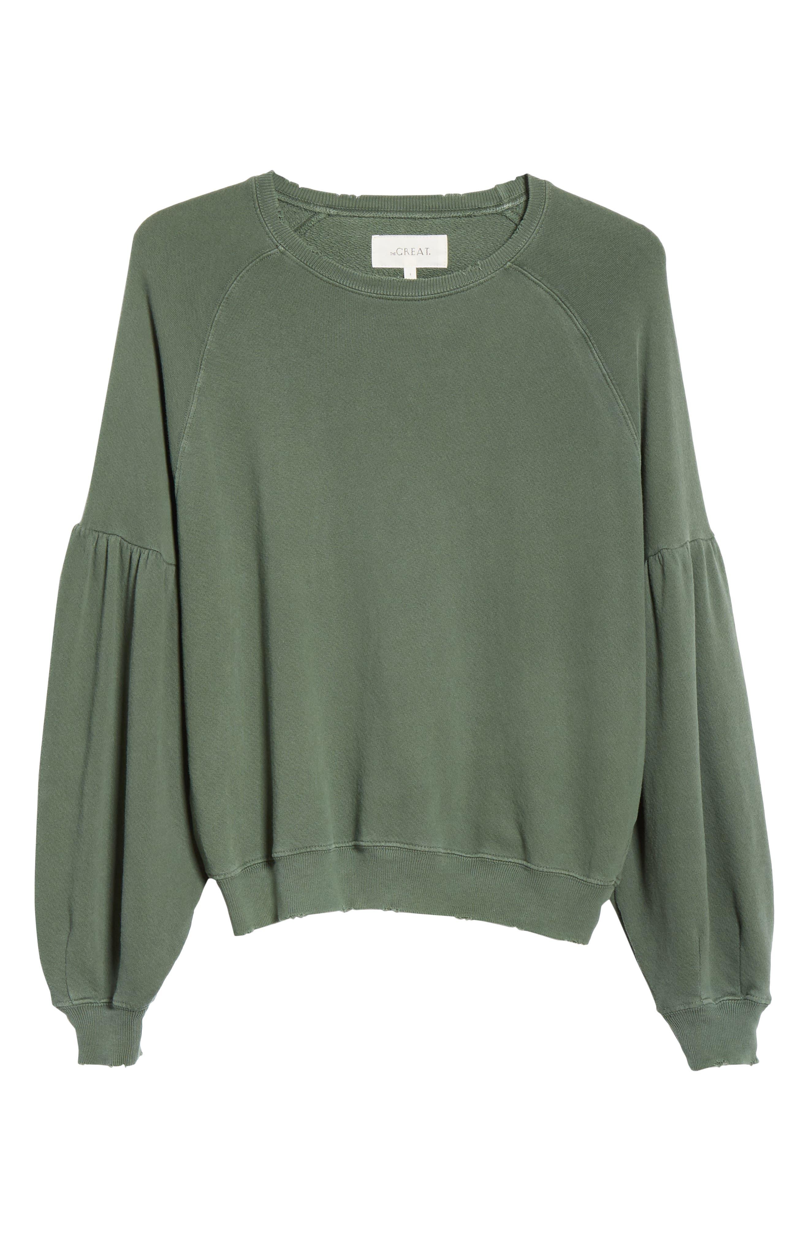 The Bishop Sleeve Sweatshirt,                             Alternate thumbnail 6, color,                             PINE