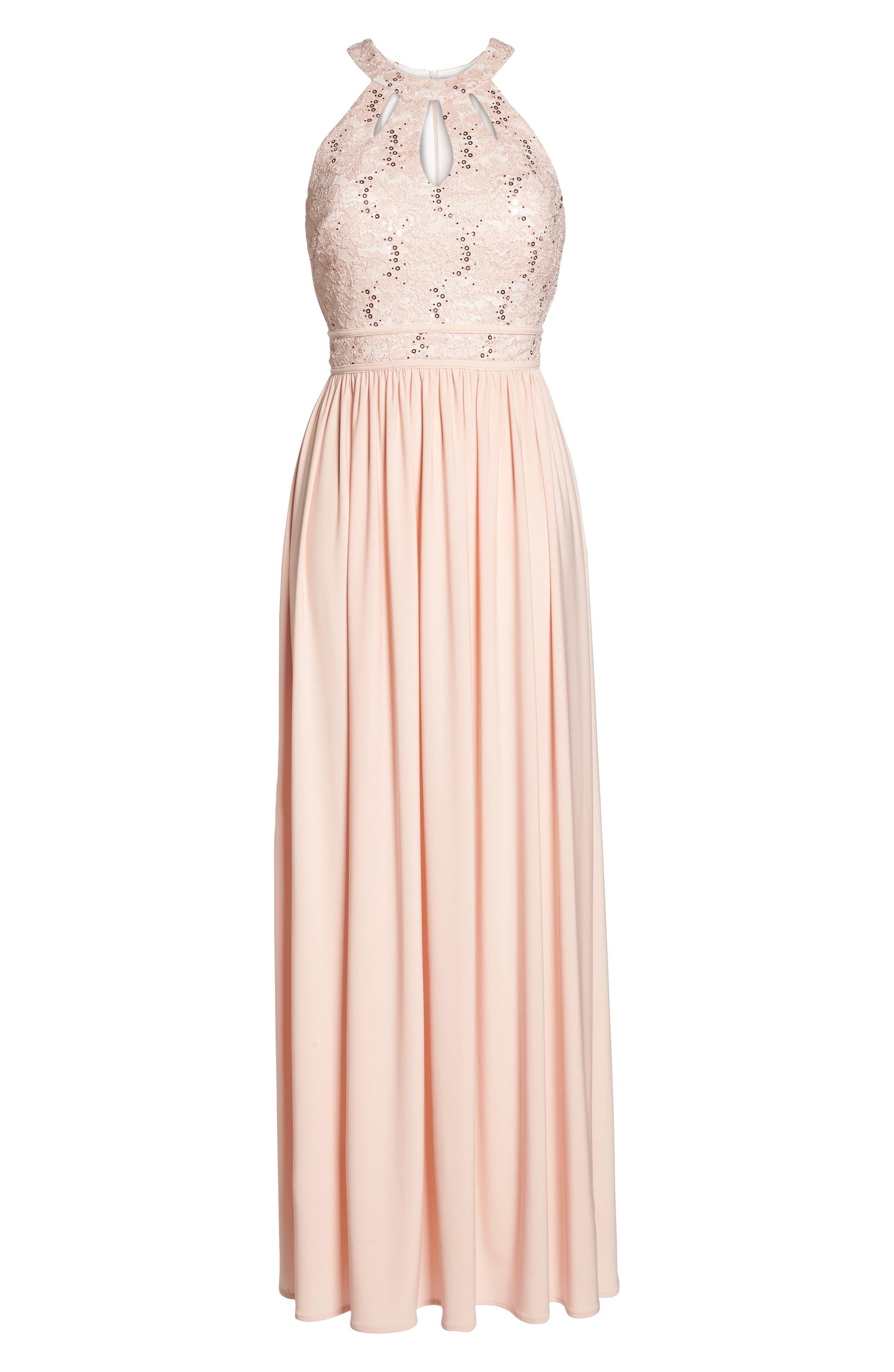 Lace Bodice Keyhole Gown,                             Alternate thumbnail 7, color,                             652