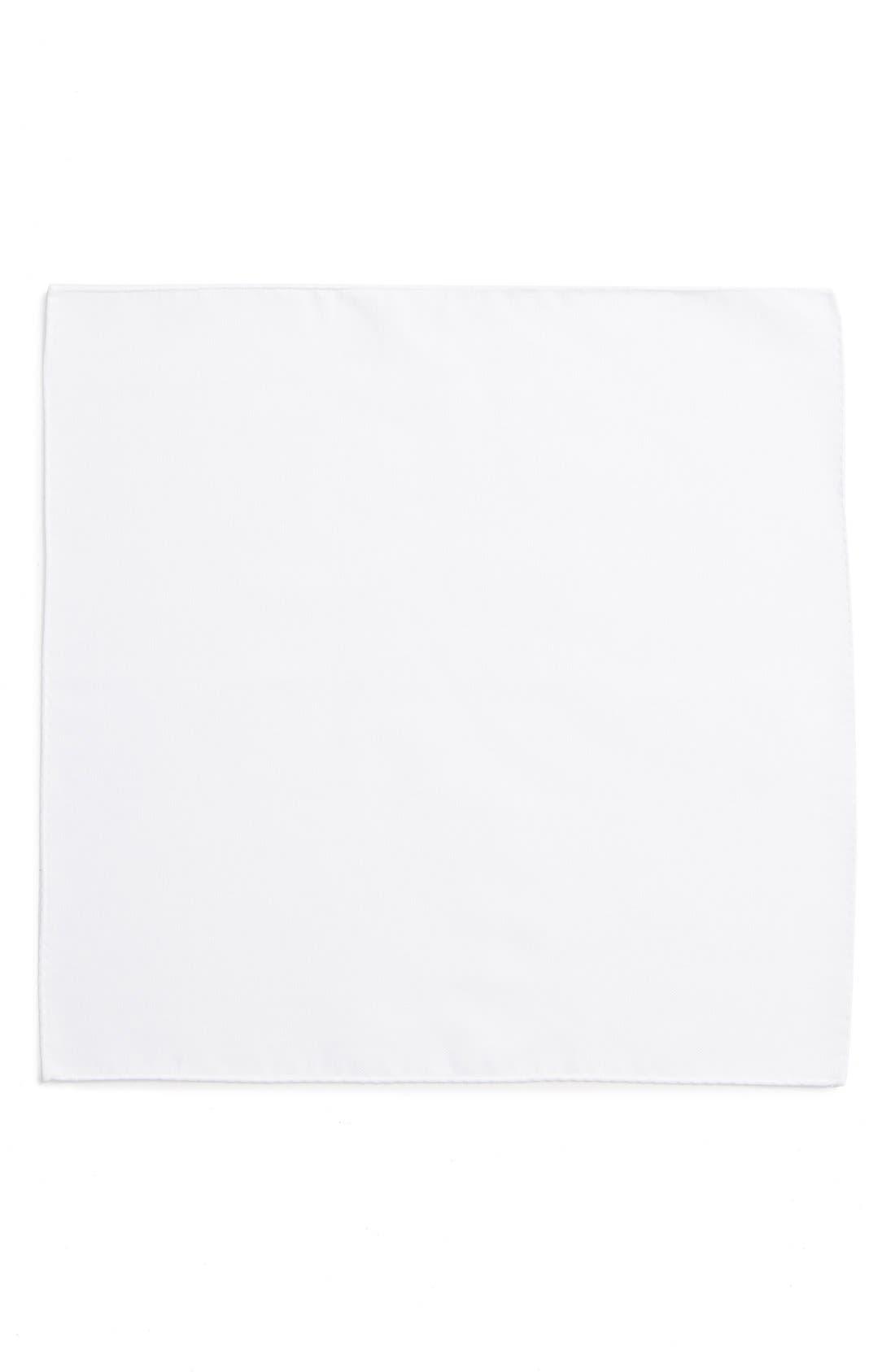 TED BAKER LONDON,                             Solid Cotton Pocket Square,                             Alternate thumbnail 2, color,                             WHITE