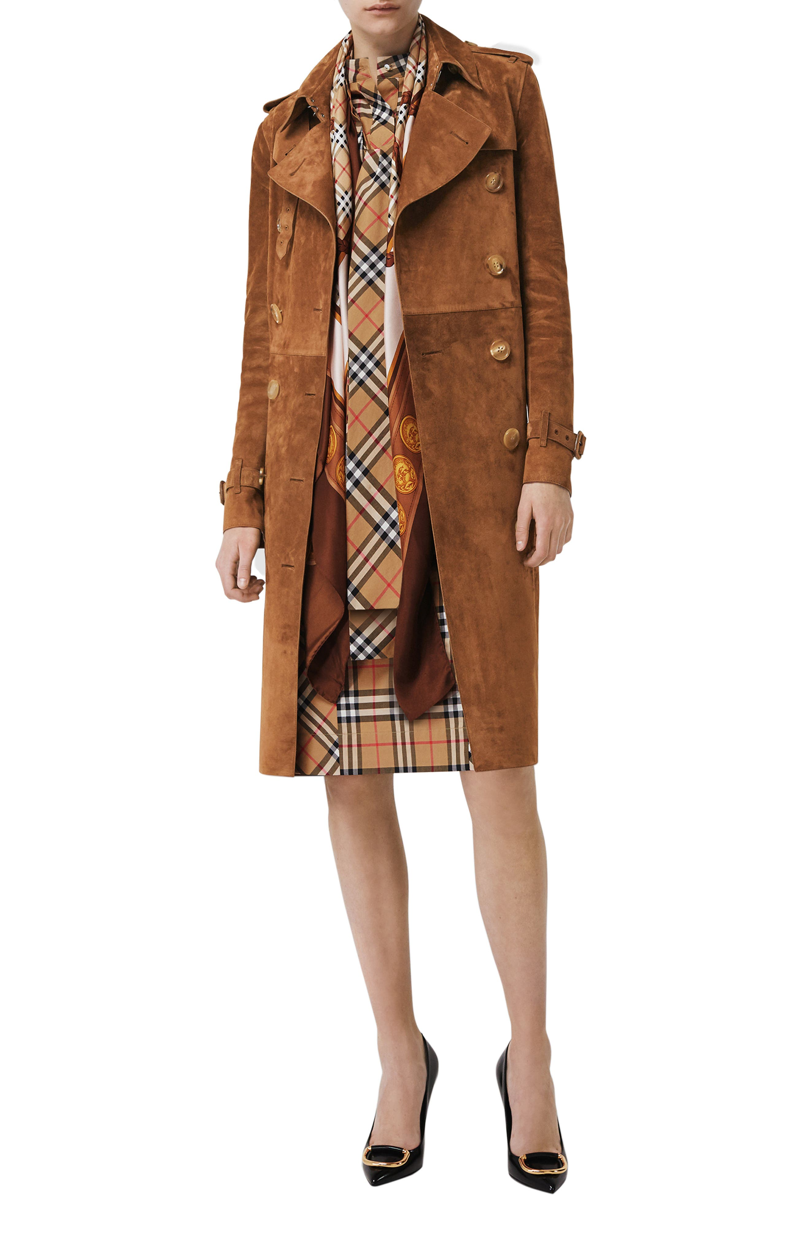 BURBERRY,                             Haddington Suede Trench Coat,                             Alternate thumbnail 6, color,                             SEPIA BROWN