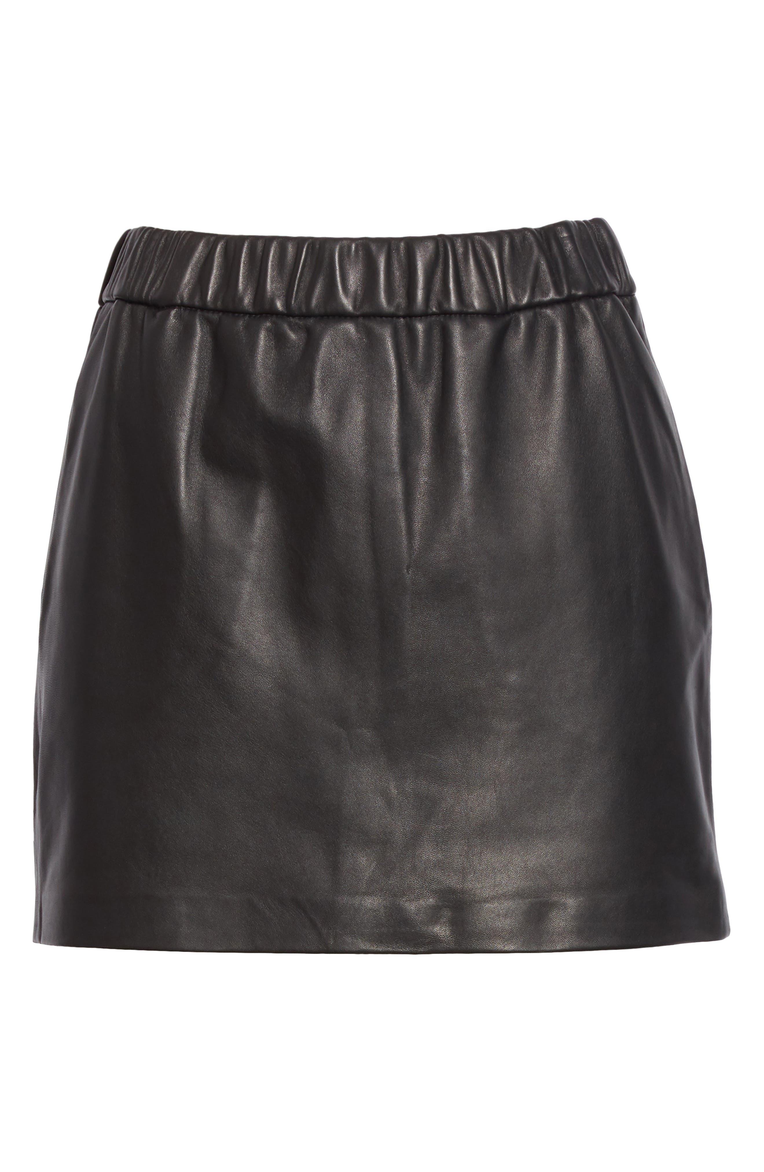 Pull-On Leather Miniskirt,                             Alternate thumbnail 6, color,                             NOIR