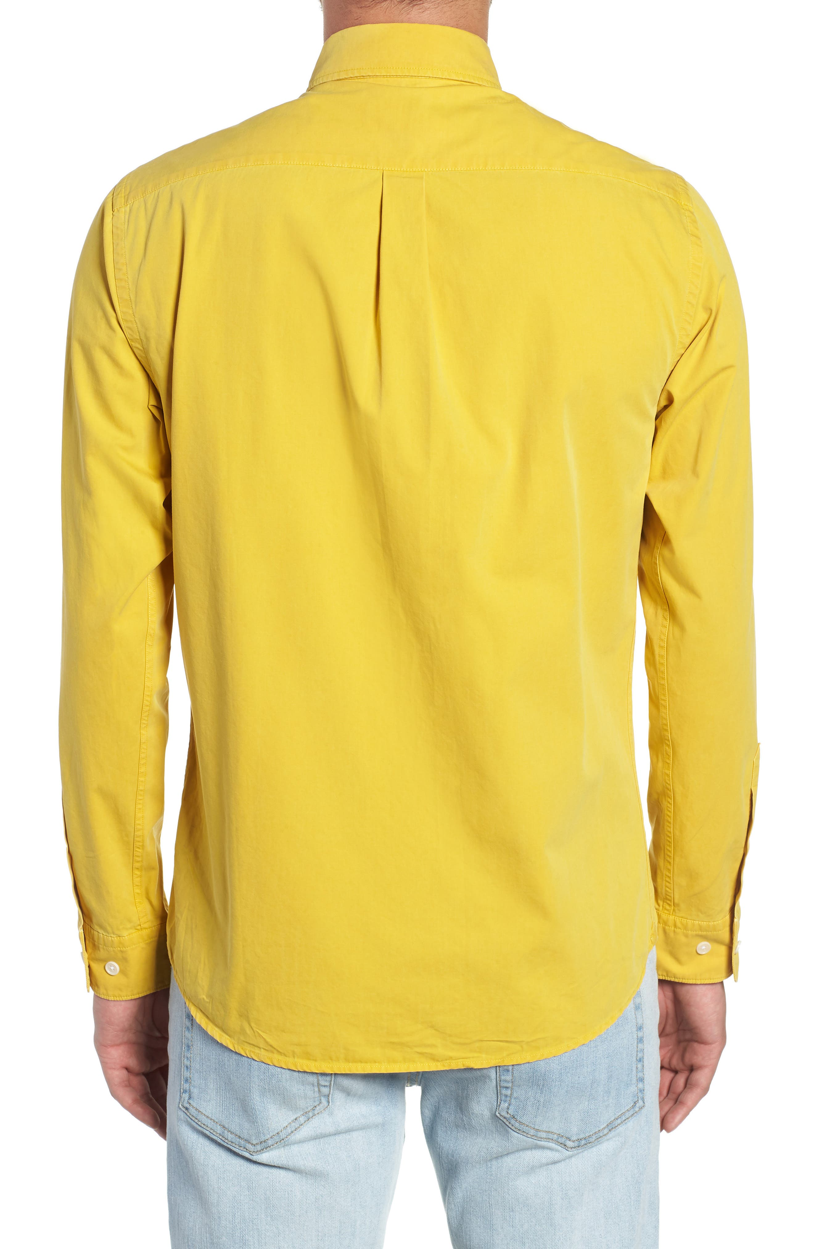 Bampton Solid Sport Shirt,                             Alternate thumbnail 3, color,                             LEMON