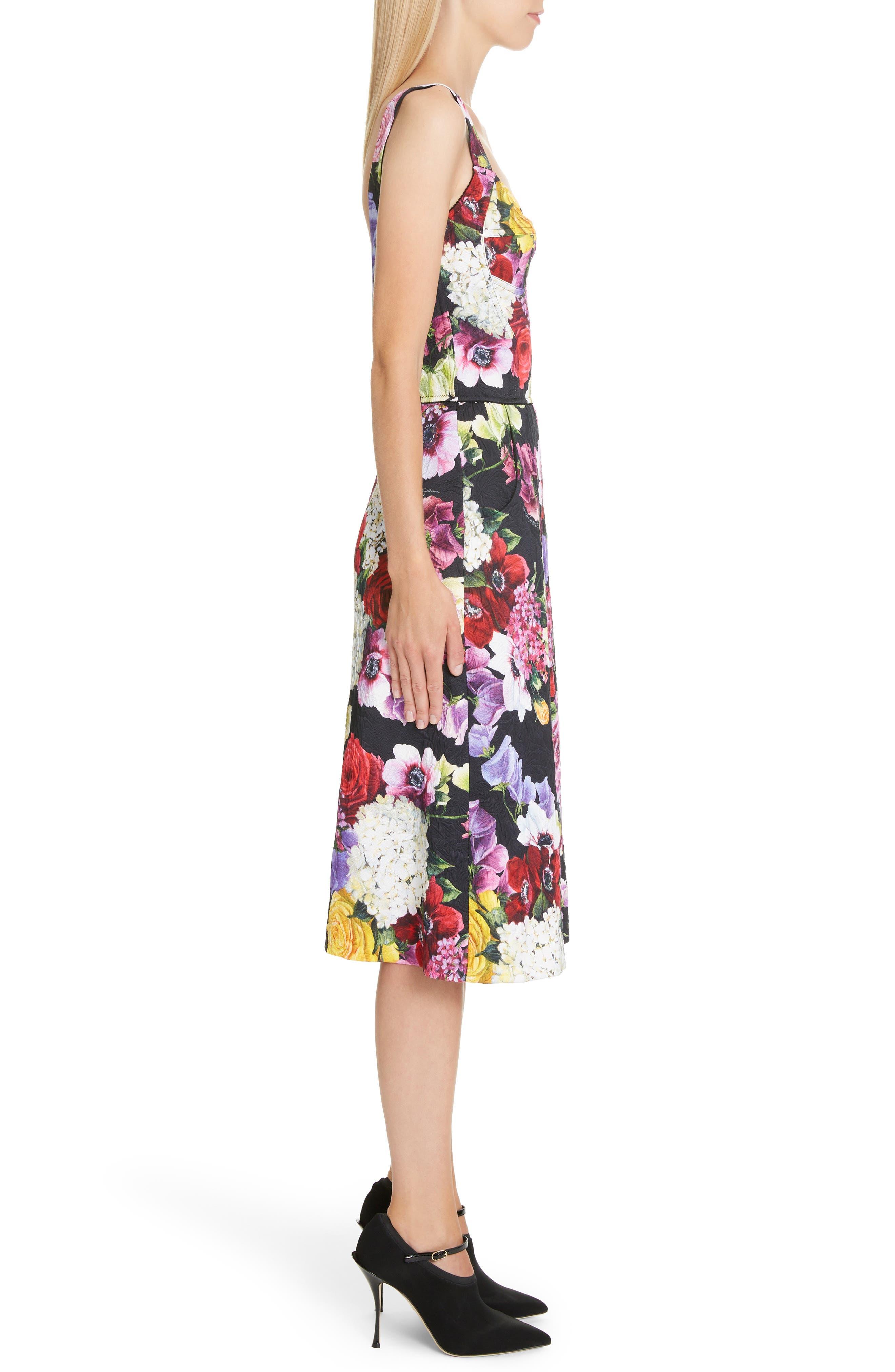 Floral Print Brocade Bustier Dress,                             Alternate thumbnail 3, color,                             HNW86 BLACK FLORAL