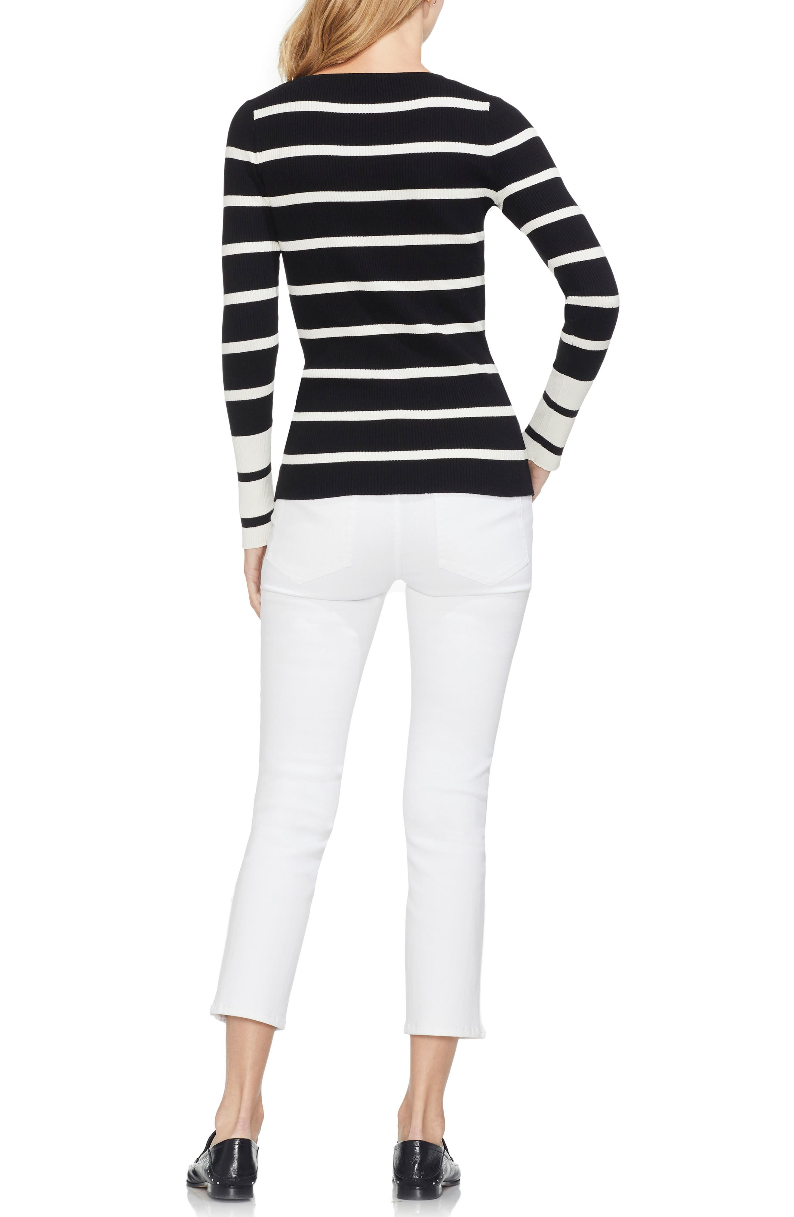 Ribbed Stripe Sweater,                             Alternate thumbnail 4, color,                             RICH BLACK