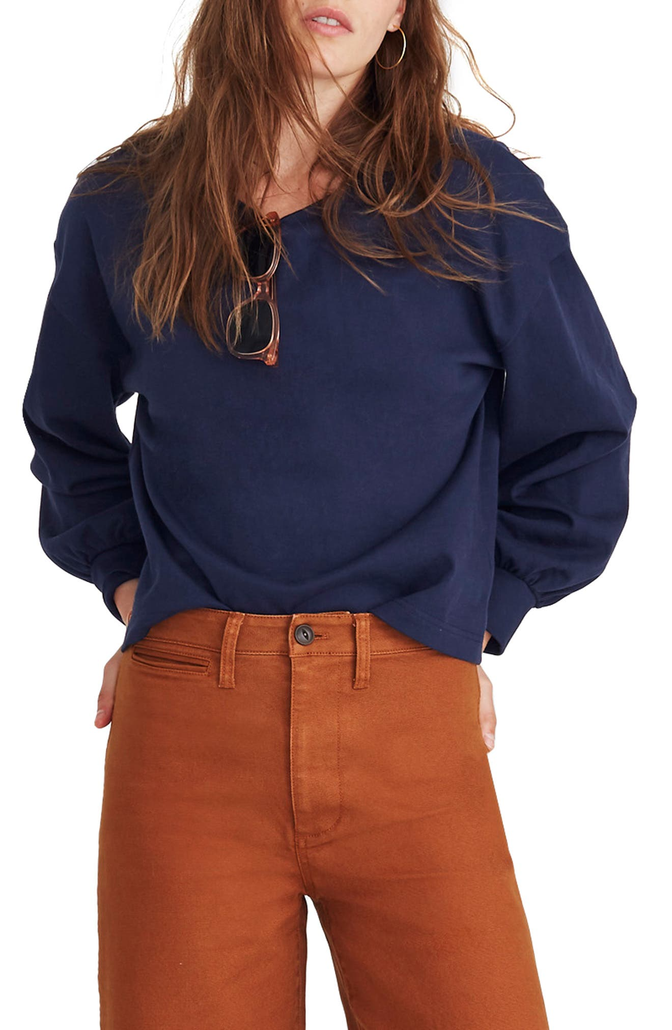 Chord Bubble Sleeve Top,                         Main,                         color, DEEP NAVY