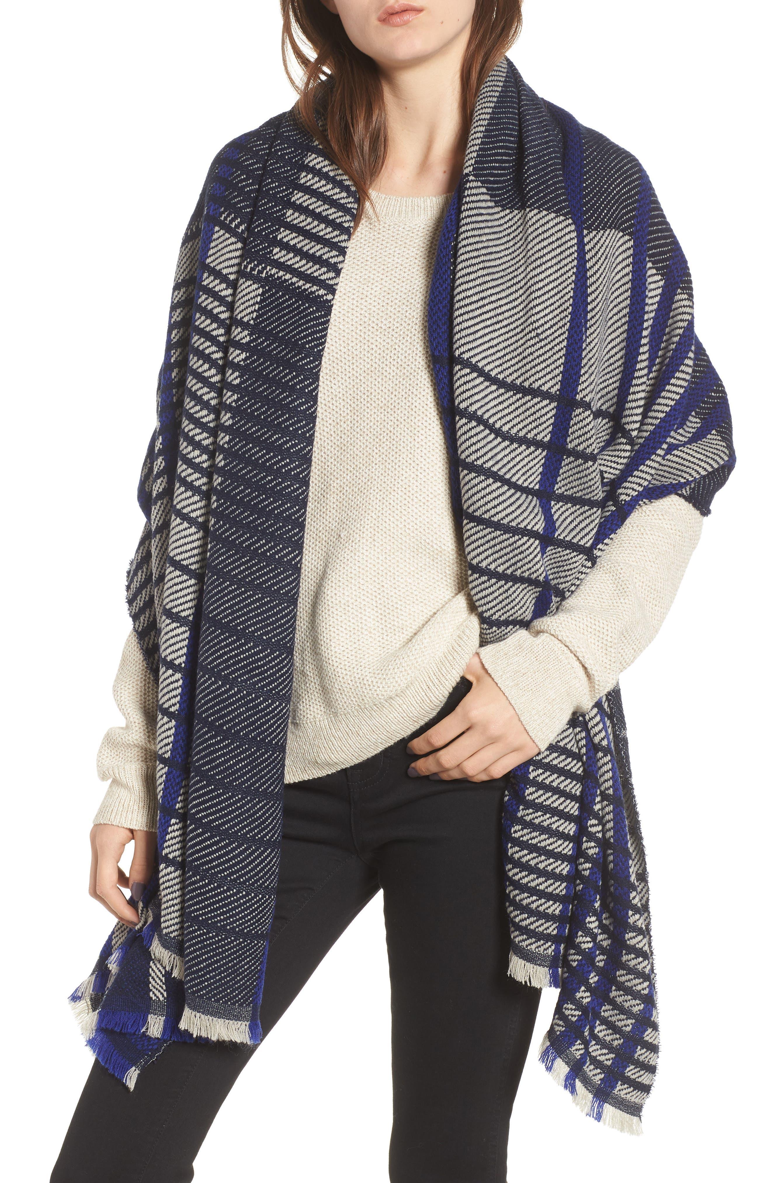 Plaid Blanket Wrap,                         Main,                         color, NAVY COMBO