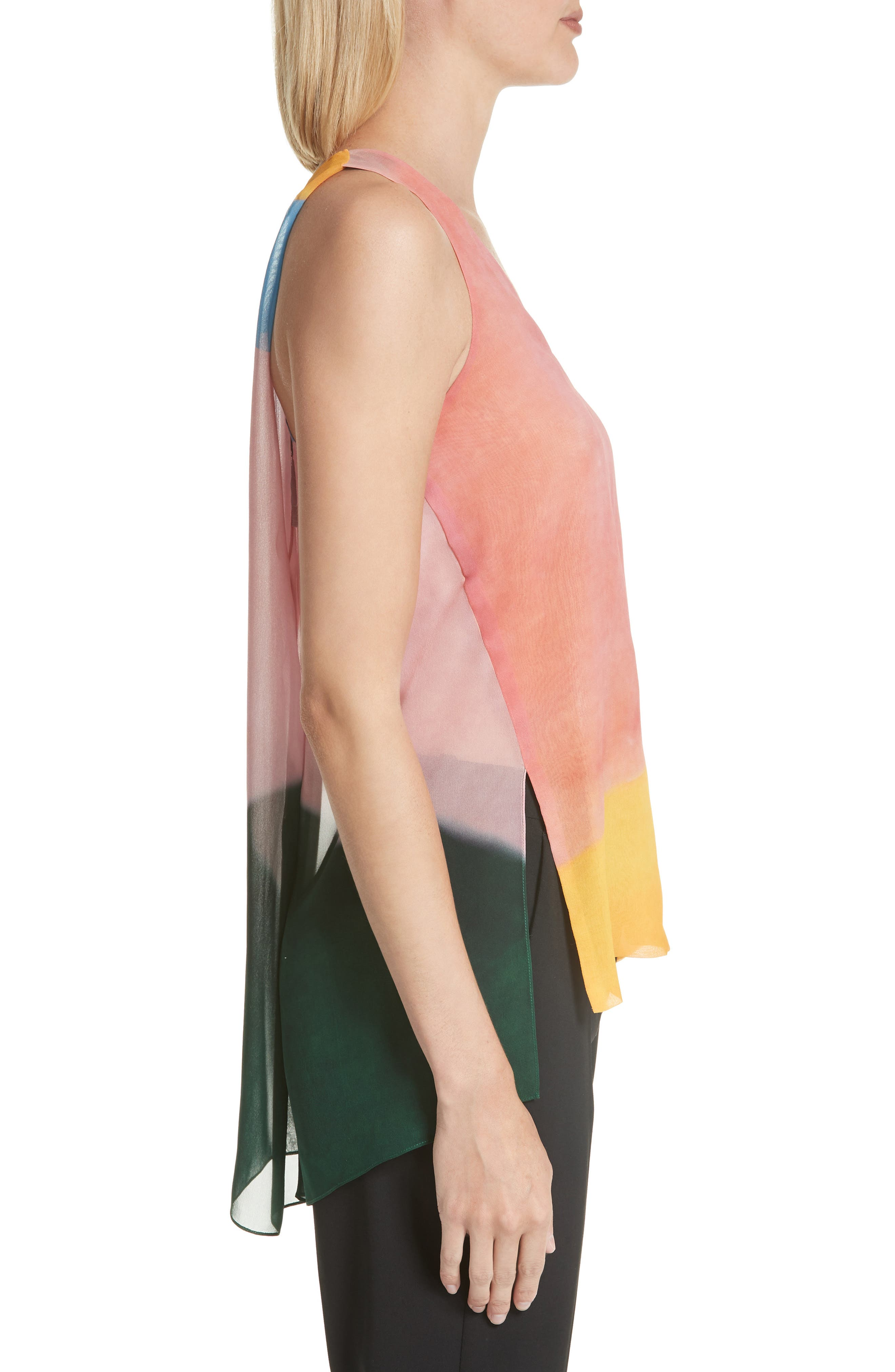 Watercolor Silk Georgette Tank,                             Alternate thumbnail 3, color,                             650