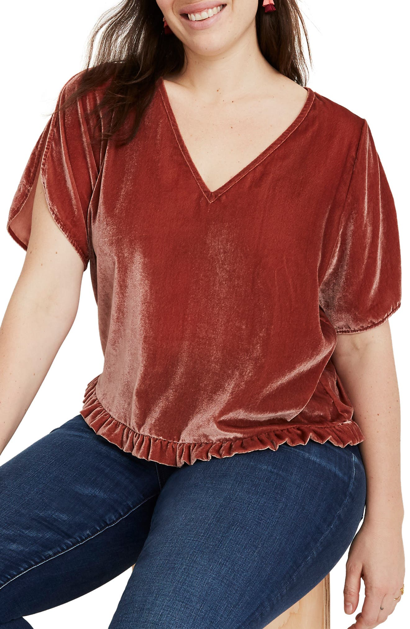 Ruffle Tulip Sleeve Velvet Top,                             Alternate thumbnail 2, color,                             AFTERGLOW RED