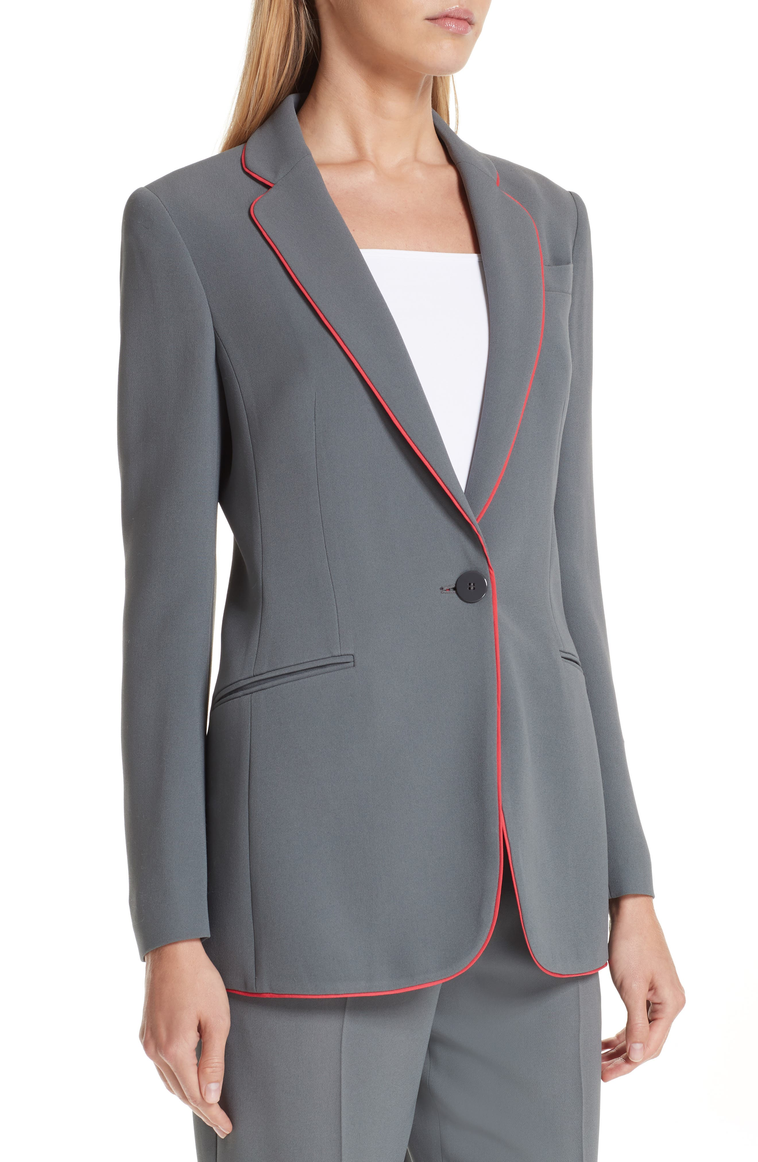 Piped Woven Jacket,                             Alternate thumbnail 4, color,                             ROCCIA