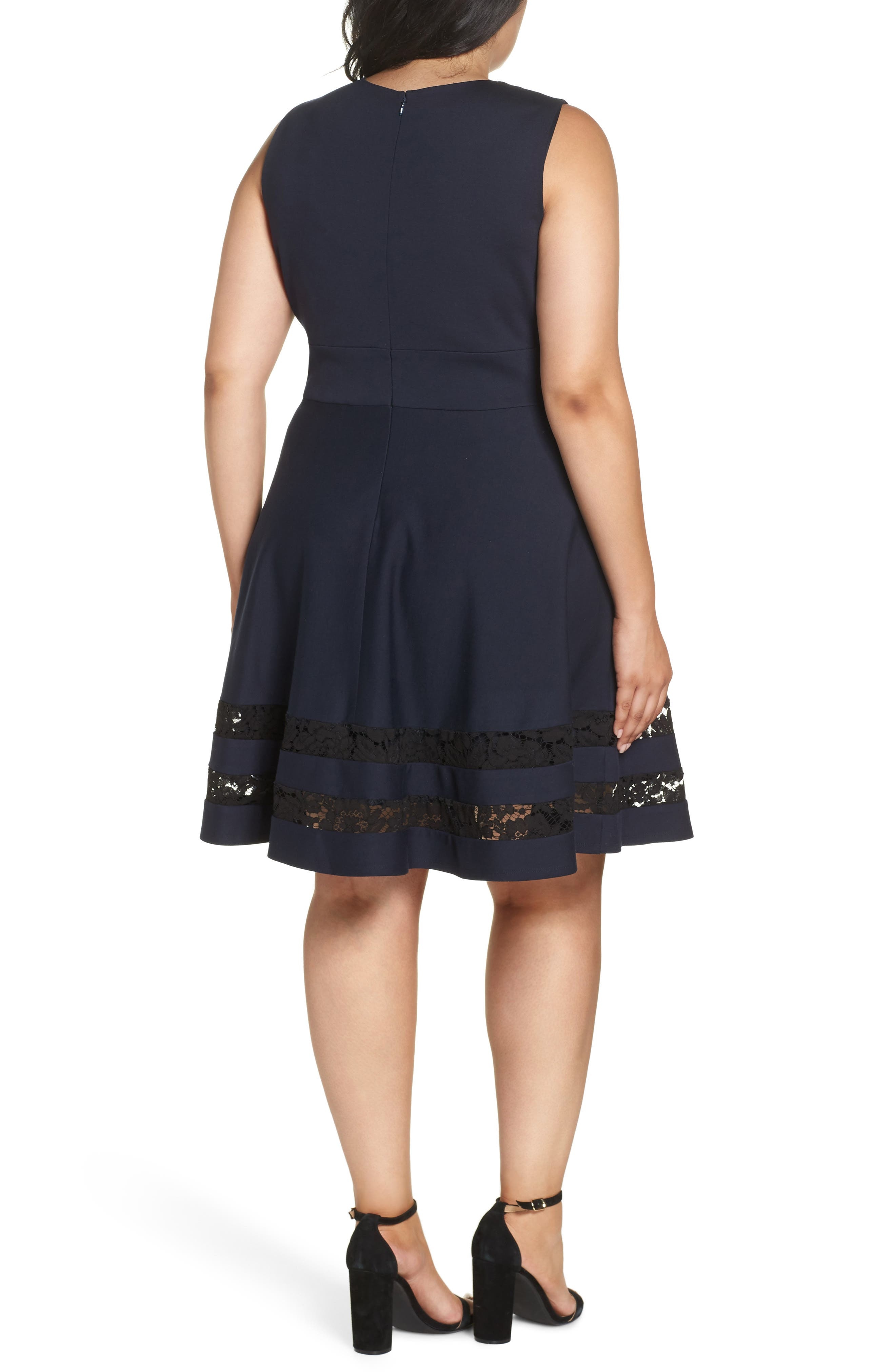 Lace Trim Fit & Flare Dress,                             Alternate thumbnail 2, color,                             NAVY
