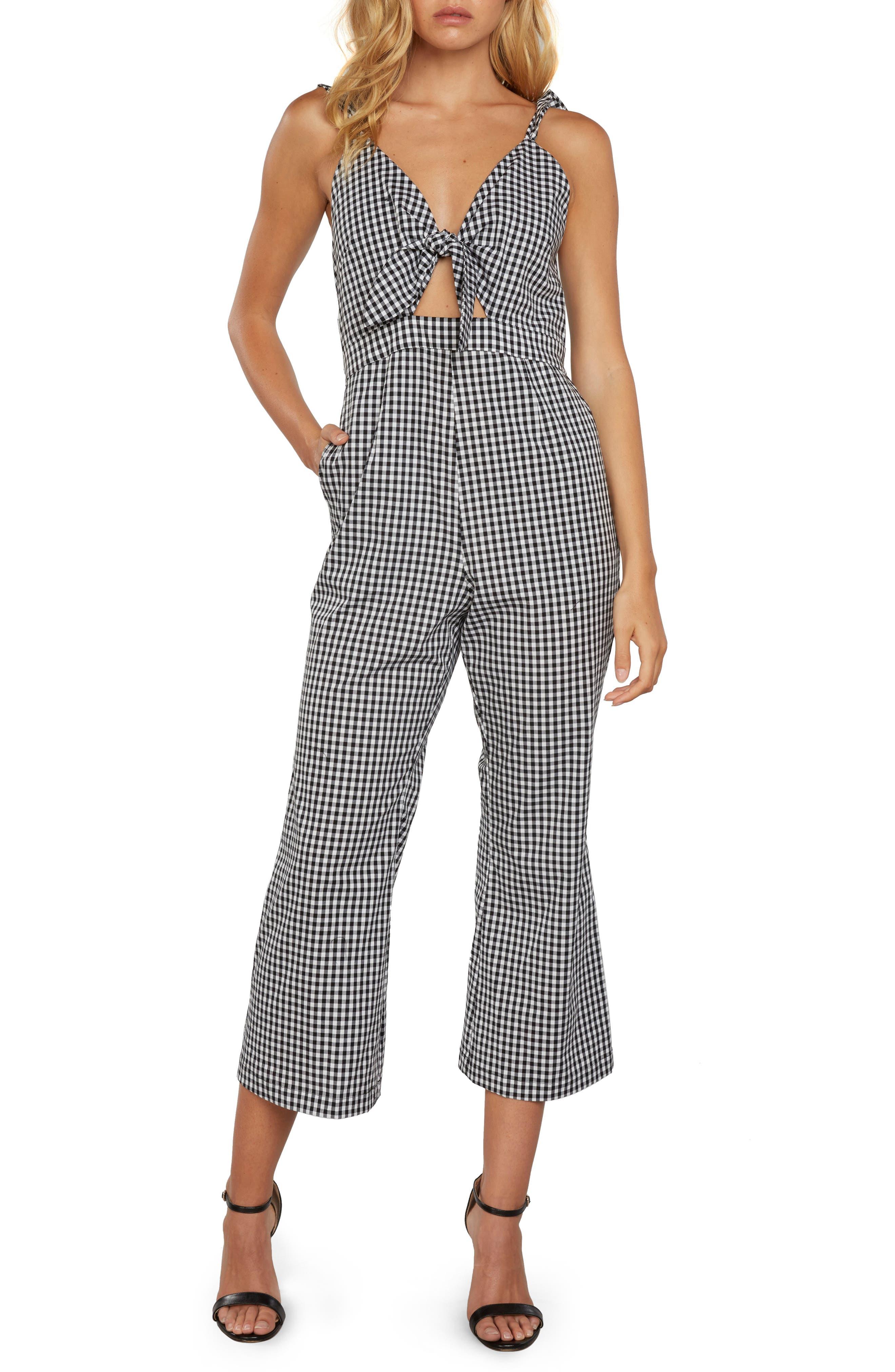Gingham Culotte Jumpsuit,                         Main,                         color, 001