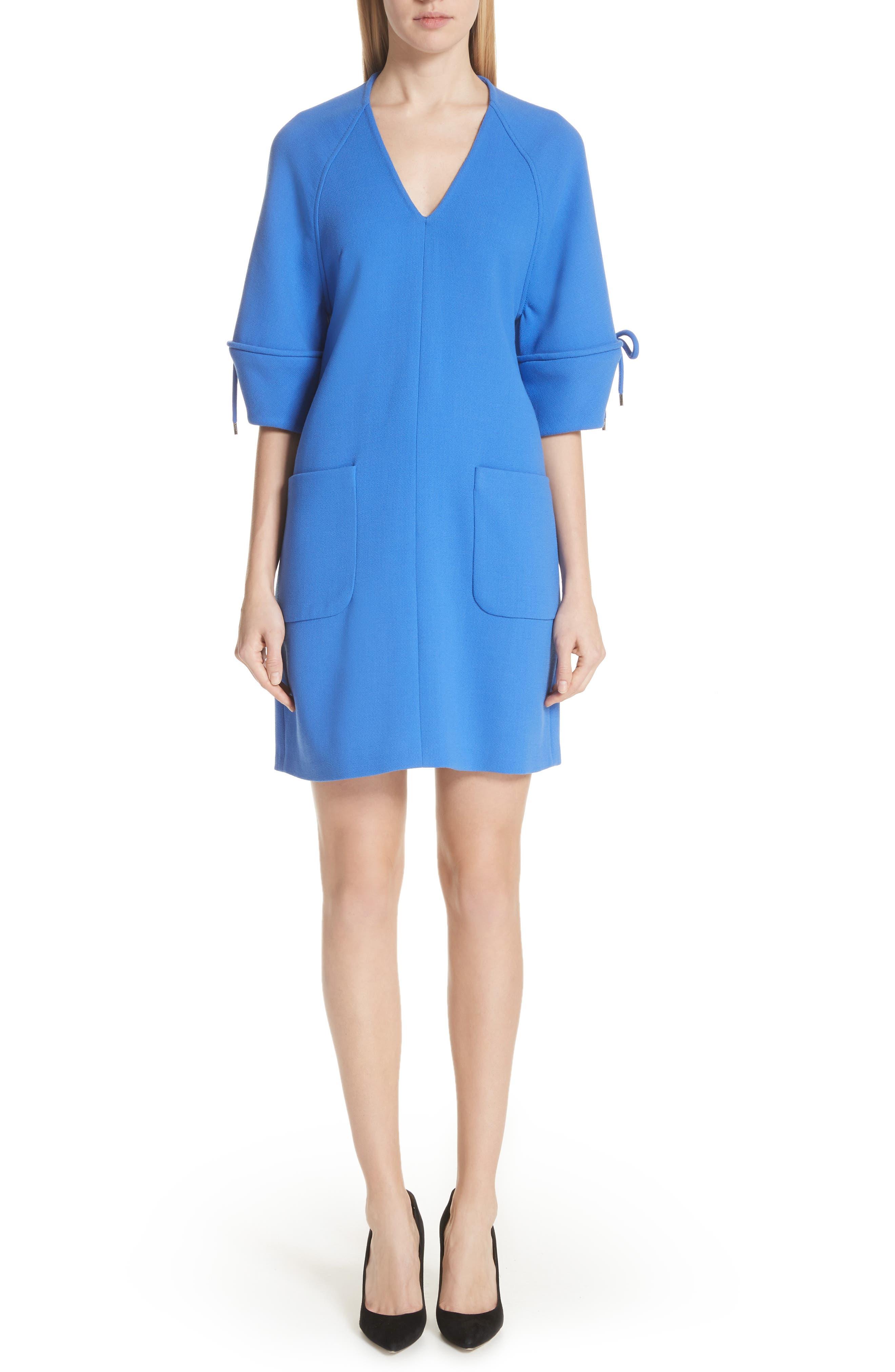 Lela Rose Bow Sleeve Tunic Dress, Blue