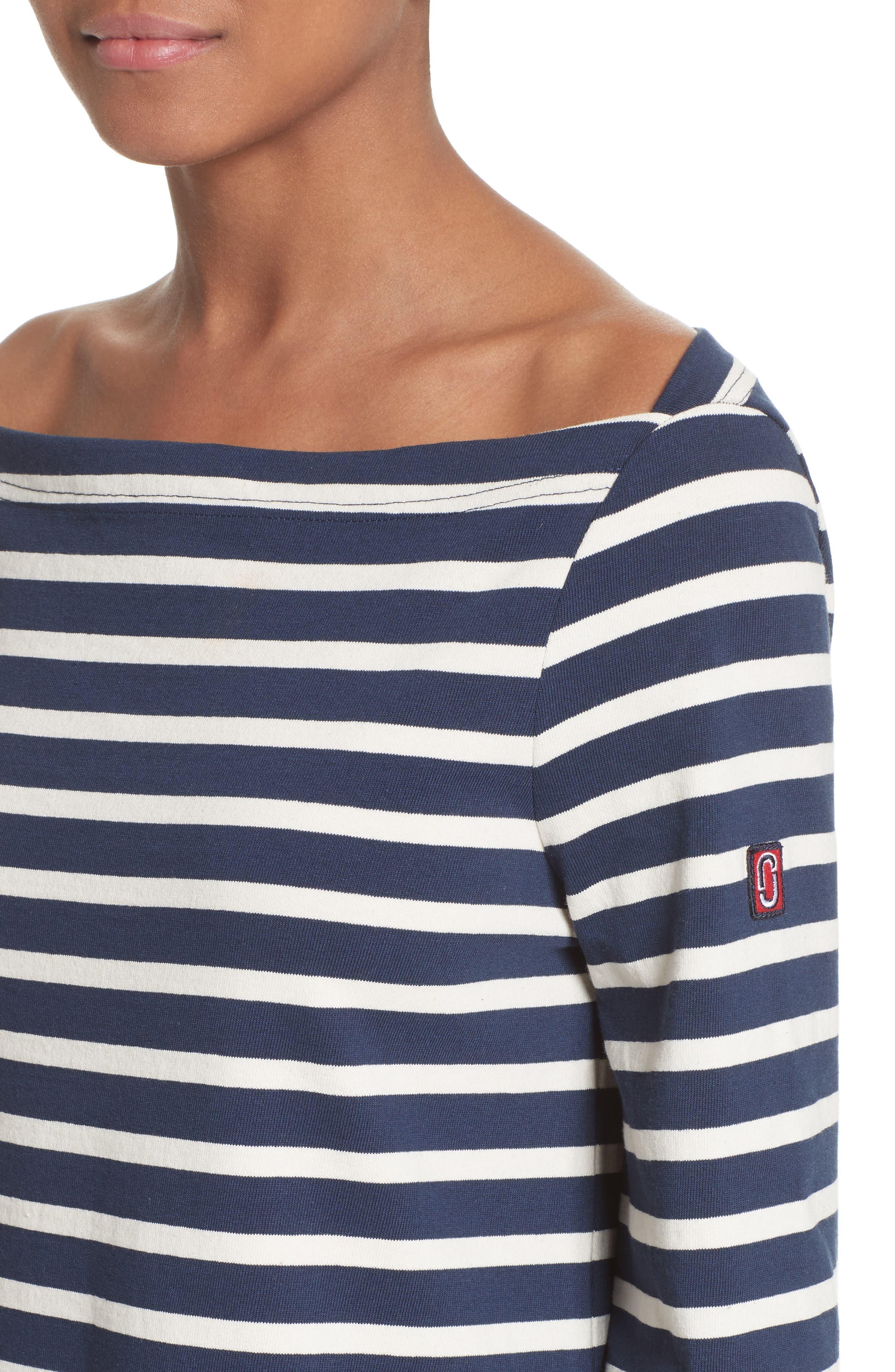Reverse Breton Stripe Dress,                             Alternate thumbnail 4, color,                             437