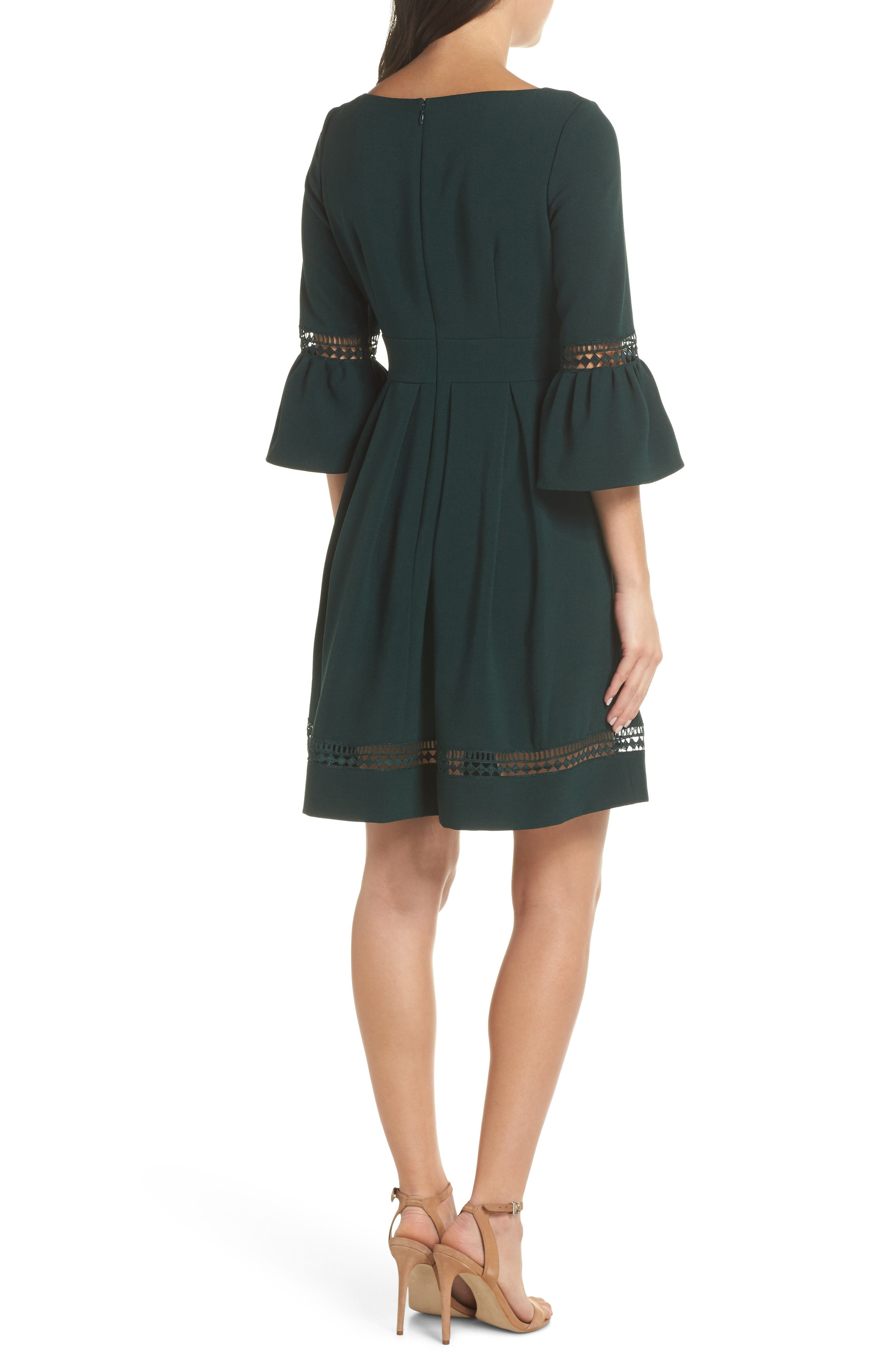 ELIZA J, Bell Sleeve Fit & Flare Dress, Alternate thumbnail 2, color, PINE