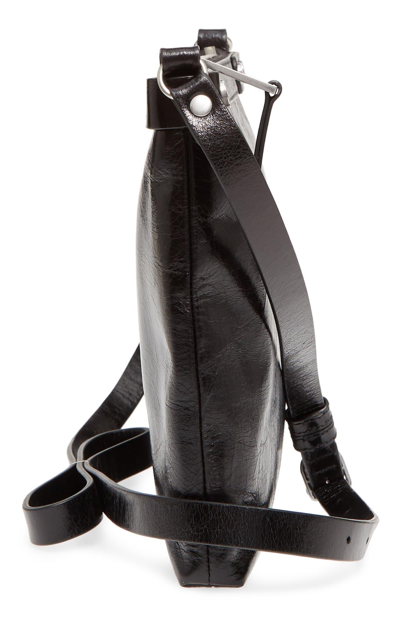 Marlow Glazed Leather Crossbody Bag,                             Alternate thumbnail 5, color,                             BLACK
